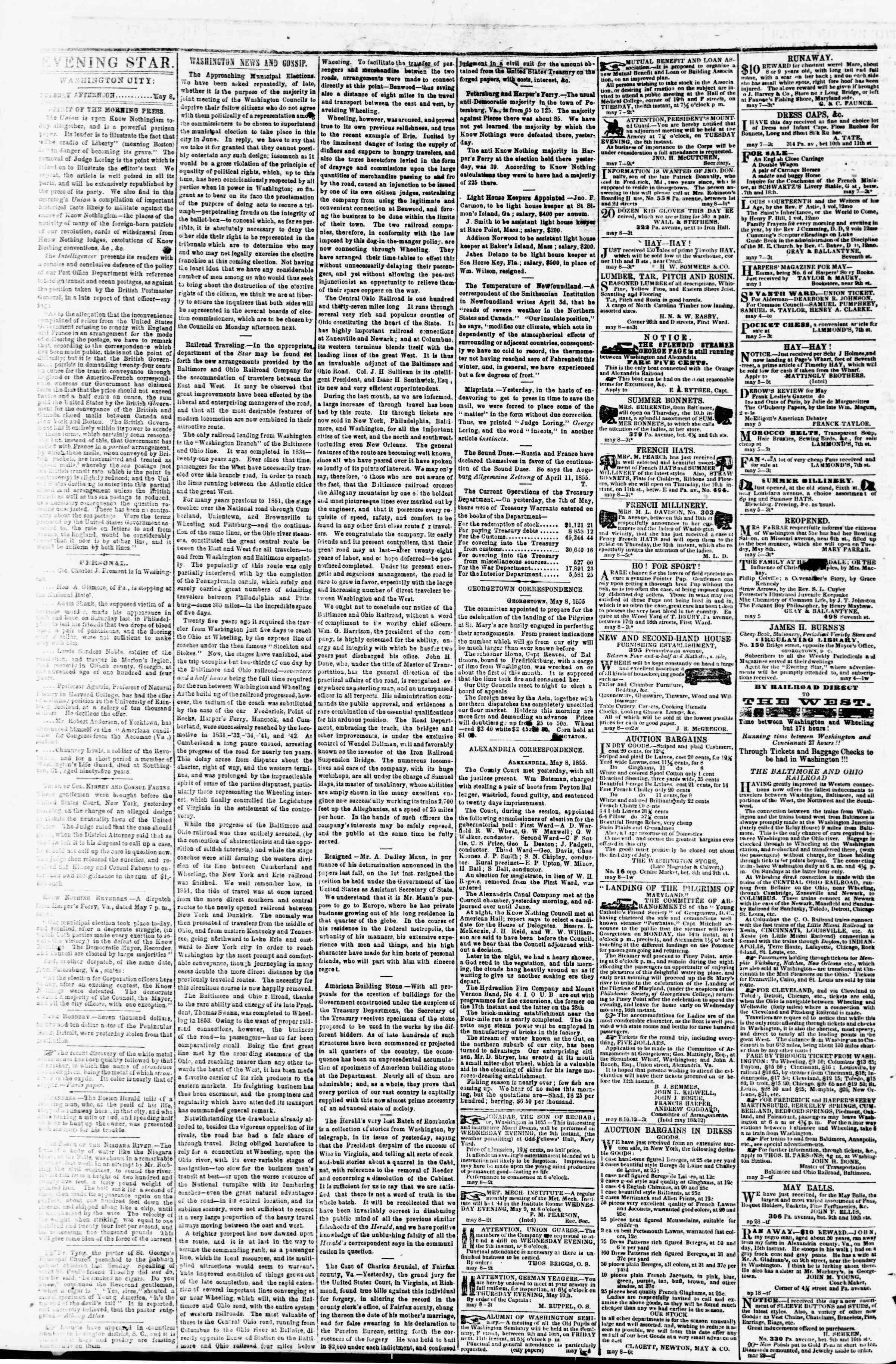 Newspaper of Evening Star dated May 8, 1855 Page 2