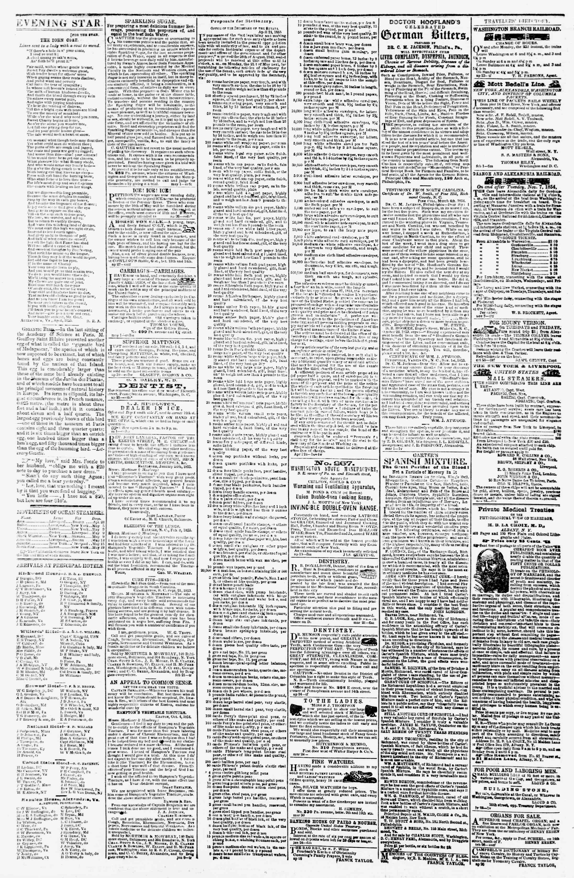 Newspaper of Evening Star dated May 8, 1855 Page 4