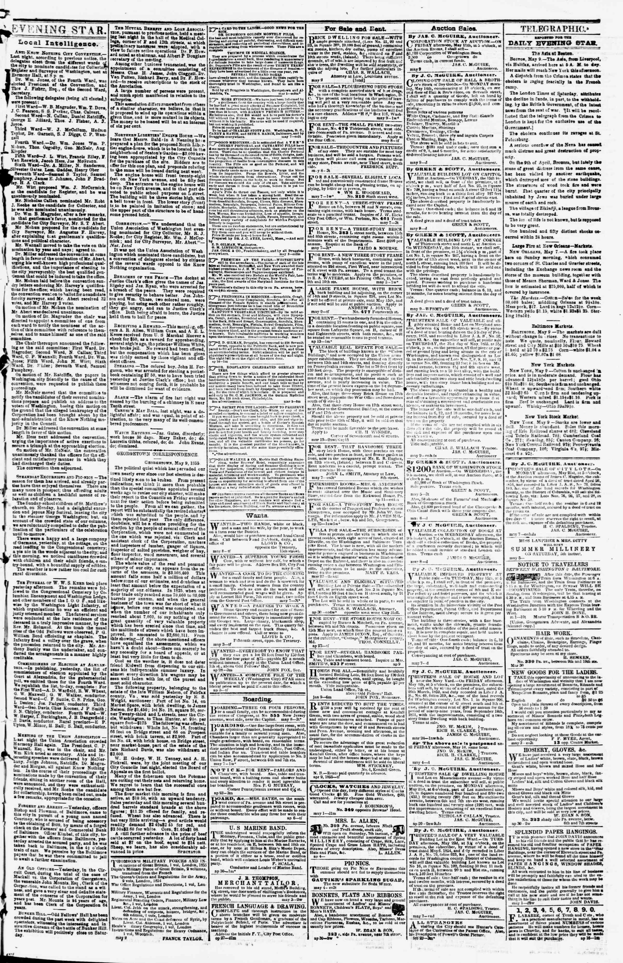 Newspaper of Evening Star dated May 9, 1855 Page 3