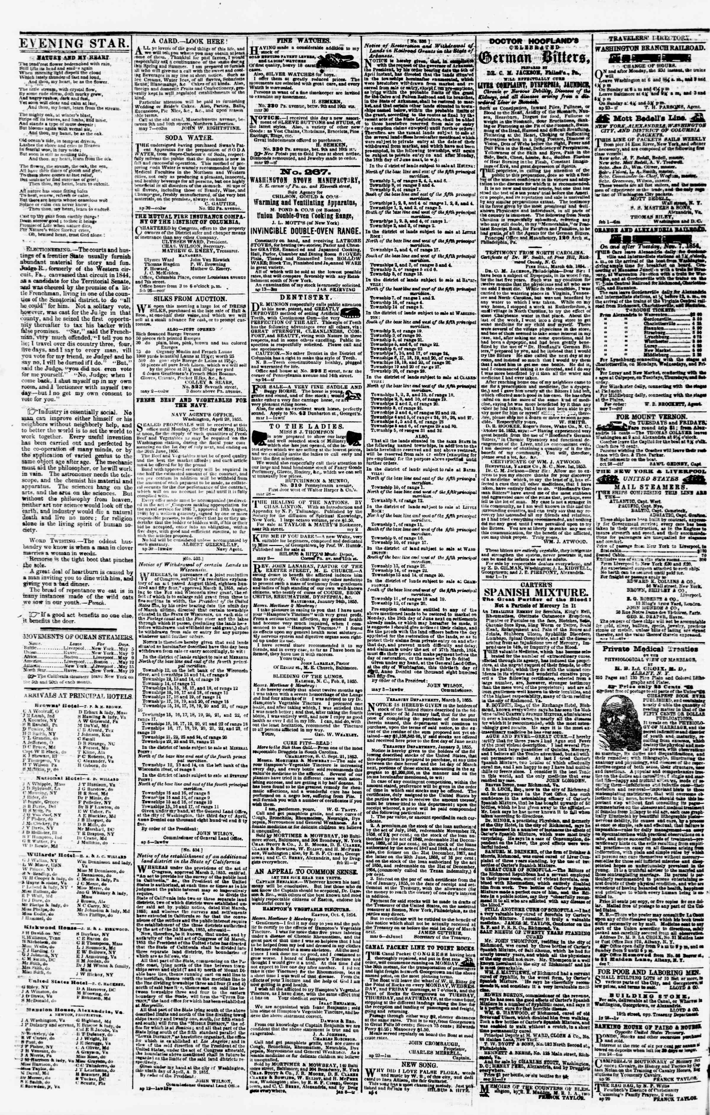 Newspaper of Evening Star dated May 11, 1855 Page 4