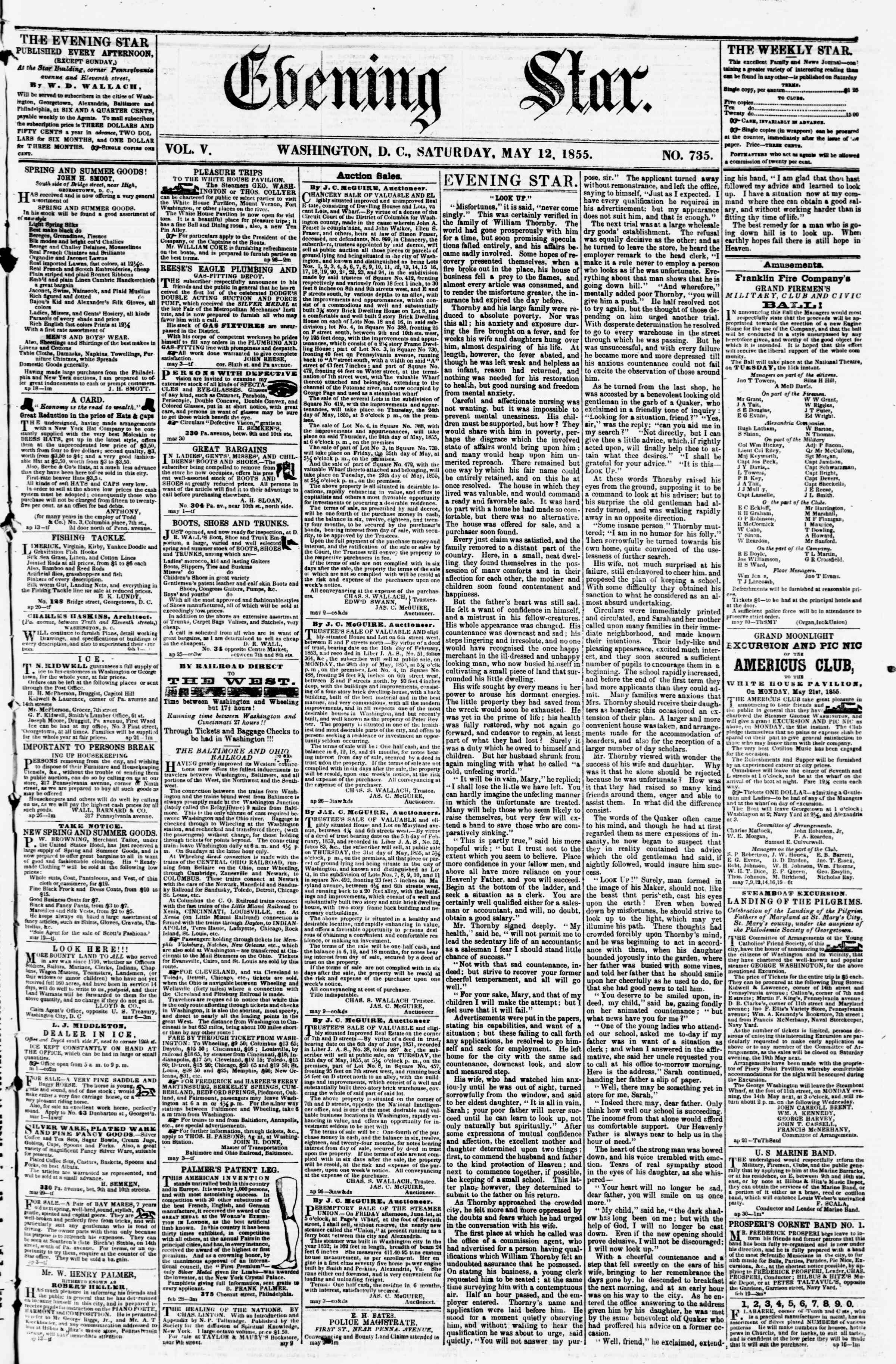 Newspaper of Evening Star dated May 12, 1855 Page 1