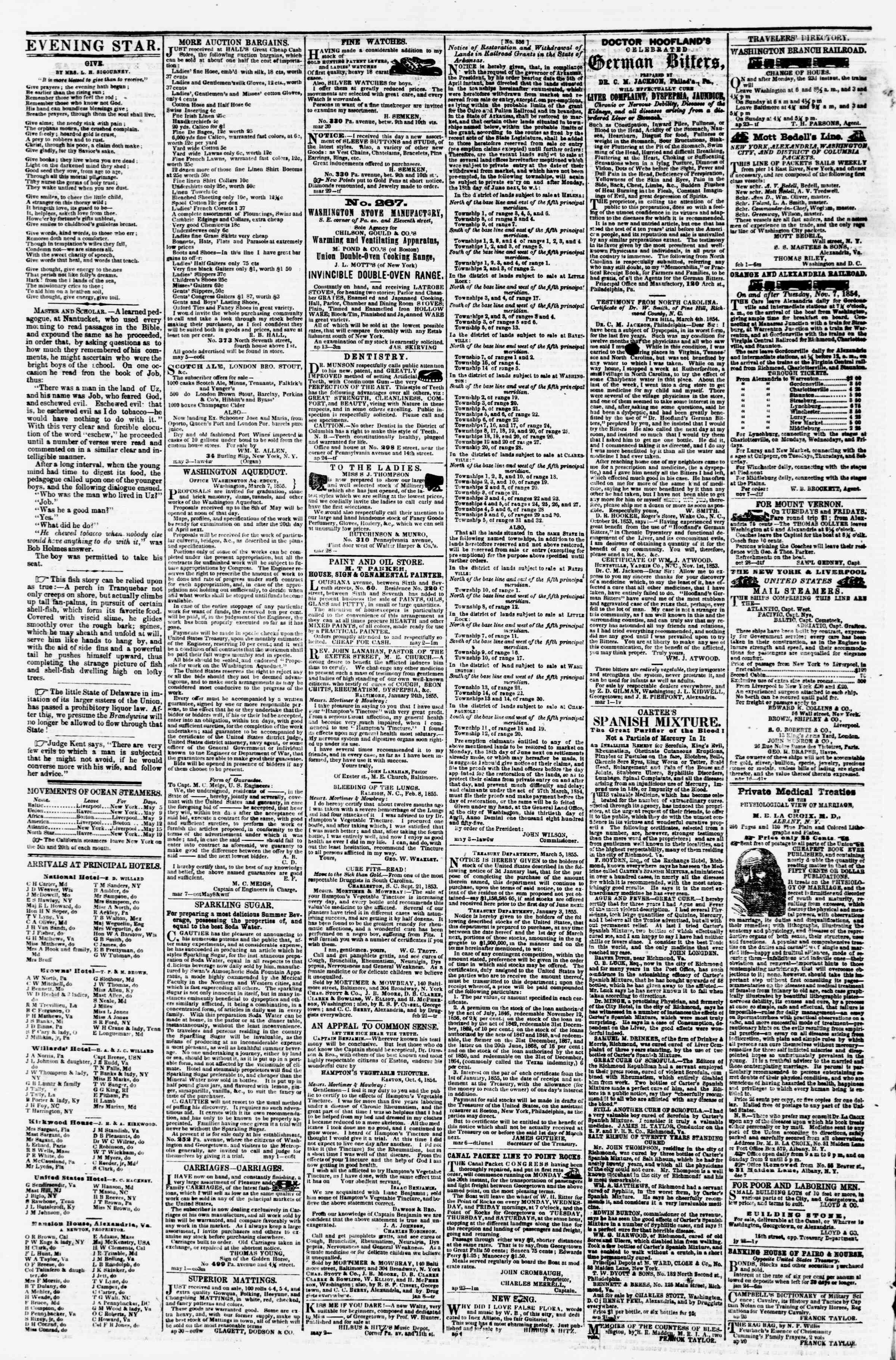 Newspaper of Evening Star dated May 12, 1855 Page 4