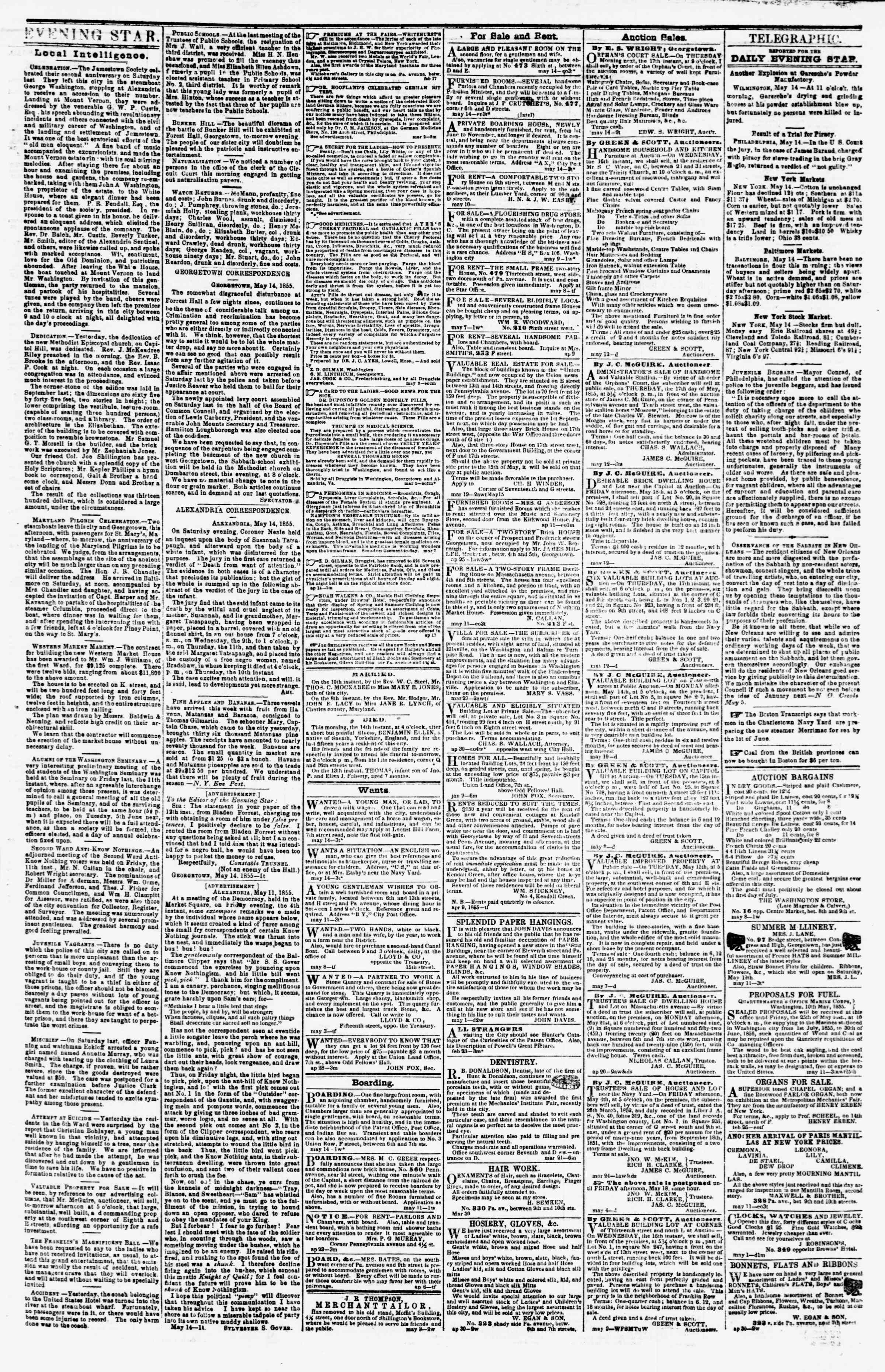 Newspaper of Evening Star dated May 14, 1855 Page 3