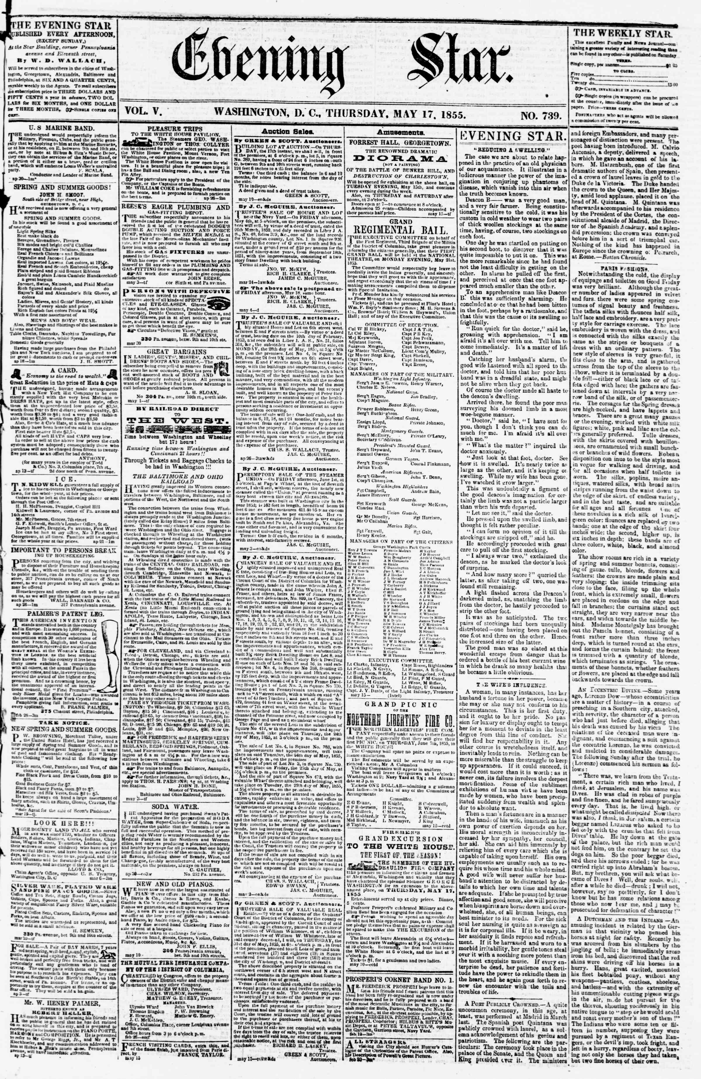 Newspaper of Evening Star dated May 17, 1855 Page 1