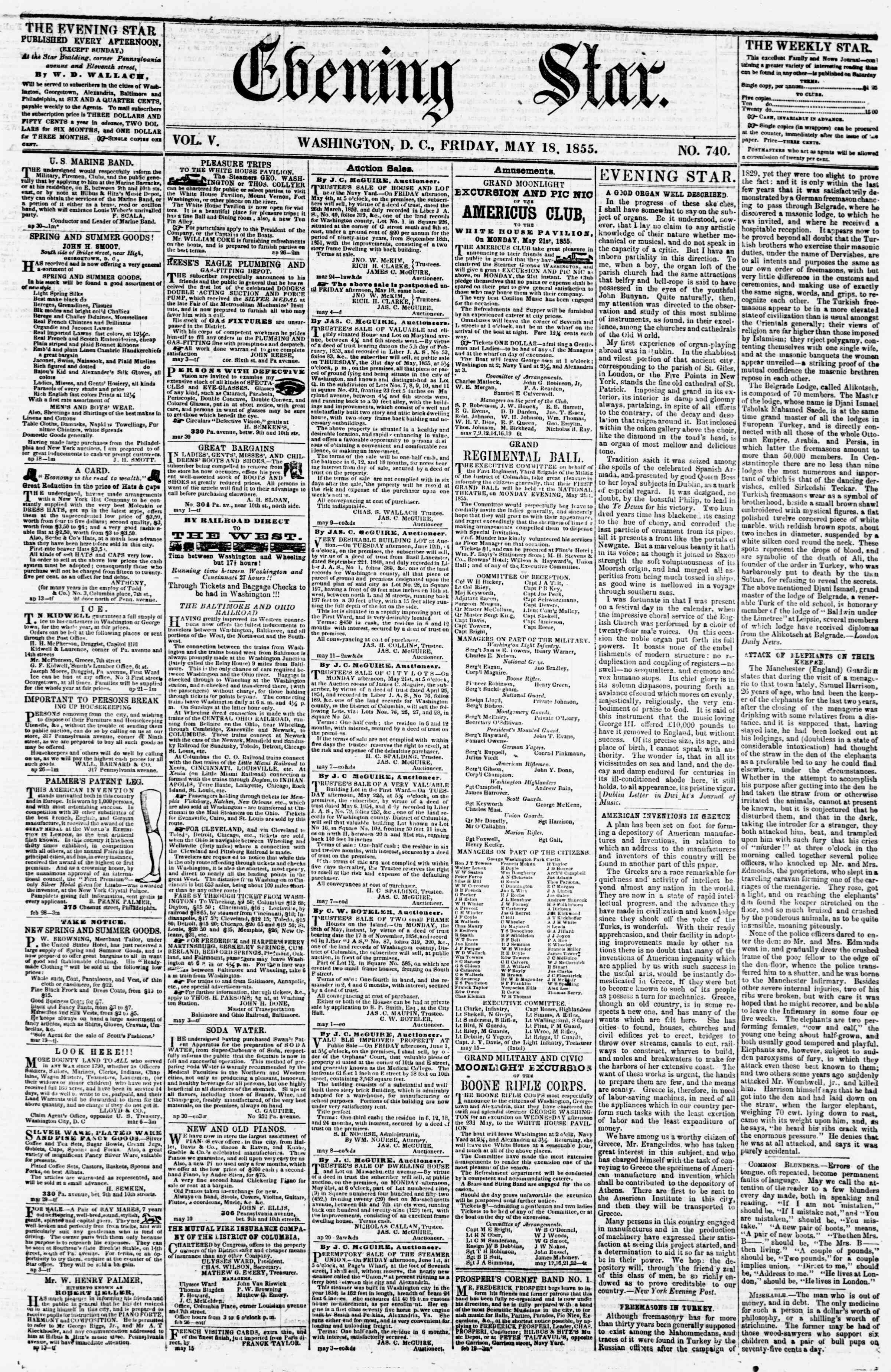 Newspaper of Evening Star dated May 18, 1855 Page 1
