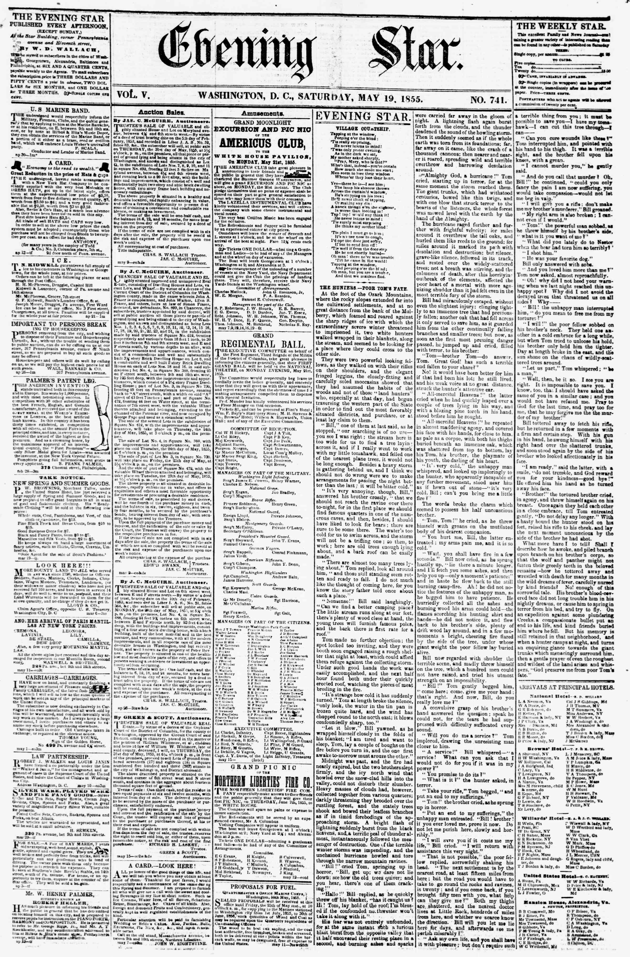 Newspaper of Evening Star dated May 19, 1855 Page 1
