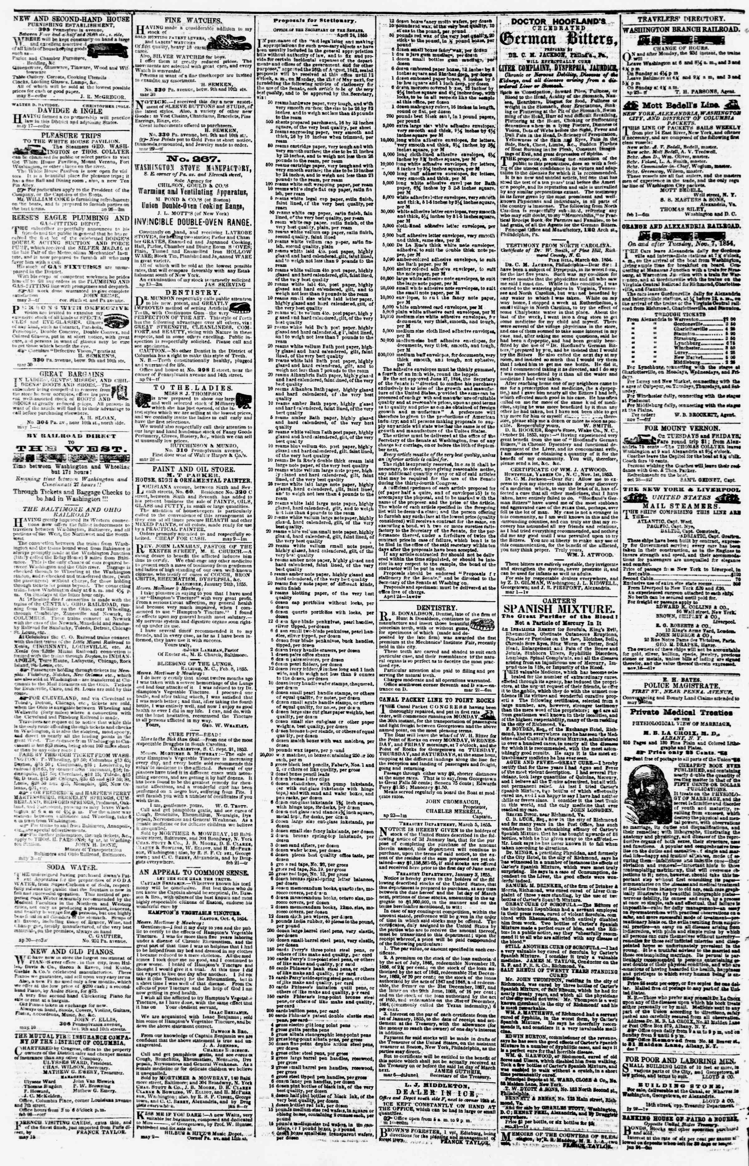 Newspaper of Evening Star dated May 19, 1855 Page 4