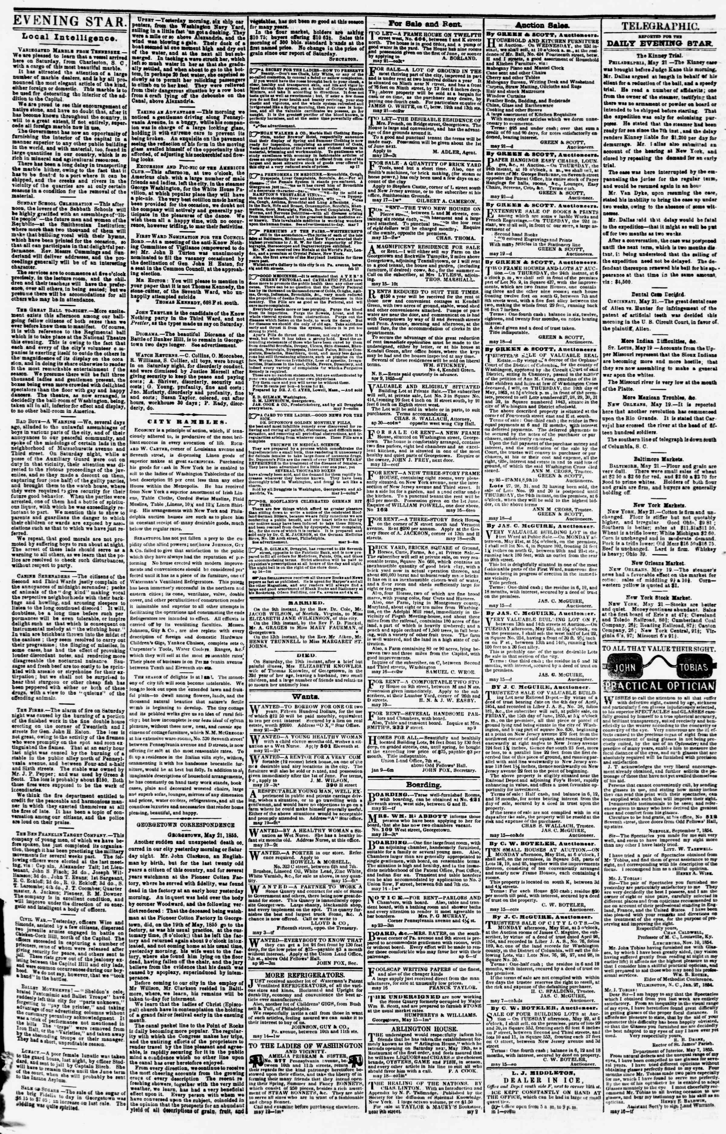 Newspaper of Evening Star dated May 21, 1855 Page 3