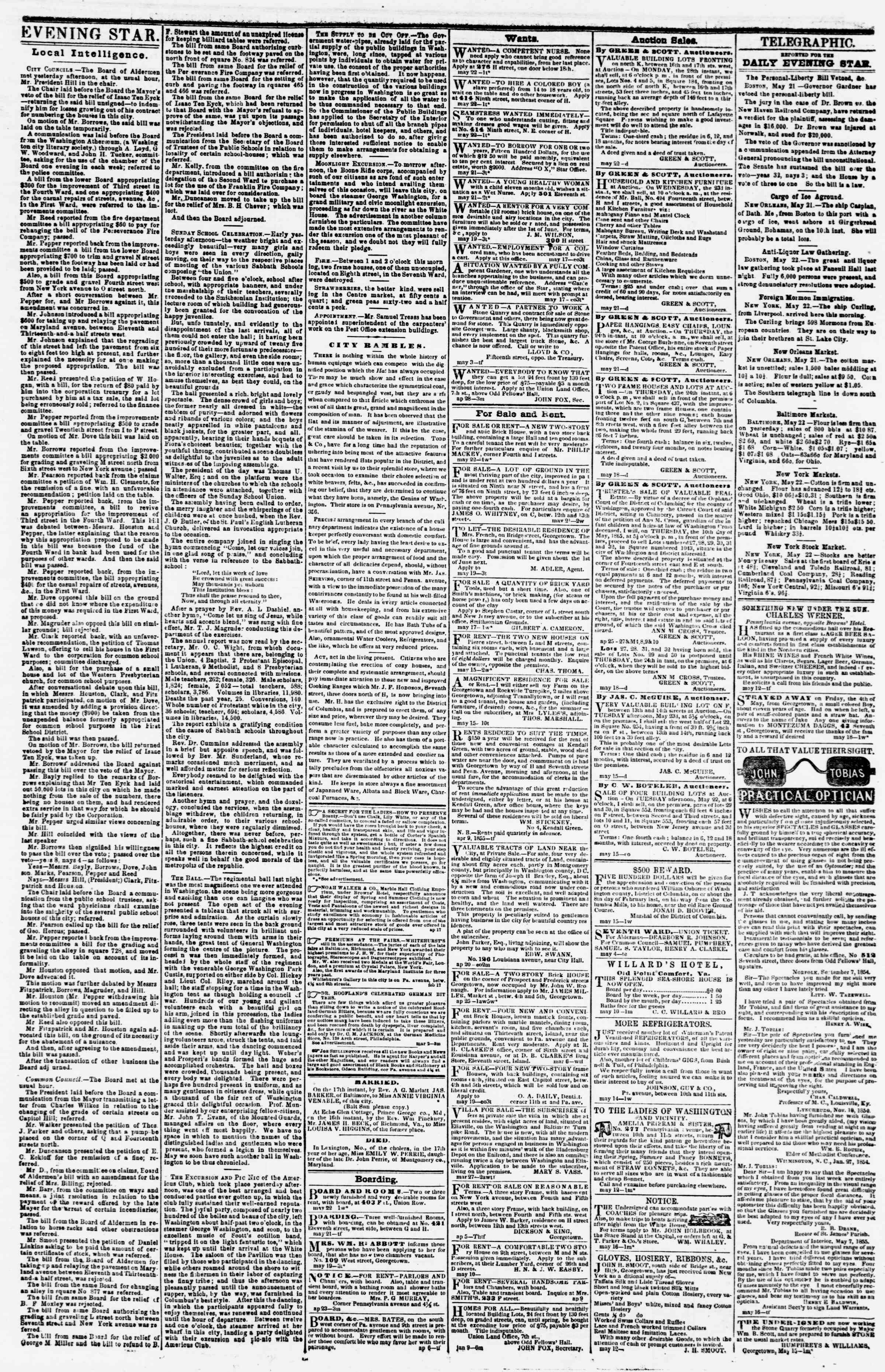 Newspaper of Evening Star dated May 22, 1855 Page 3