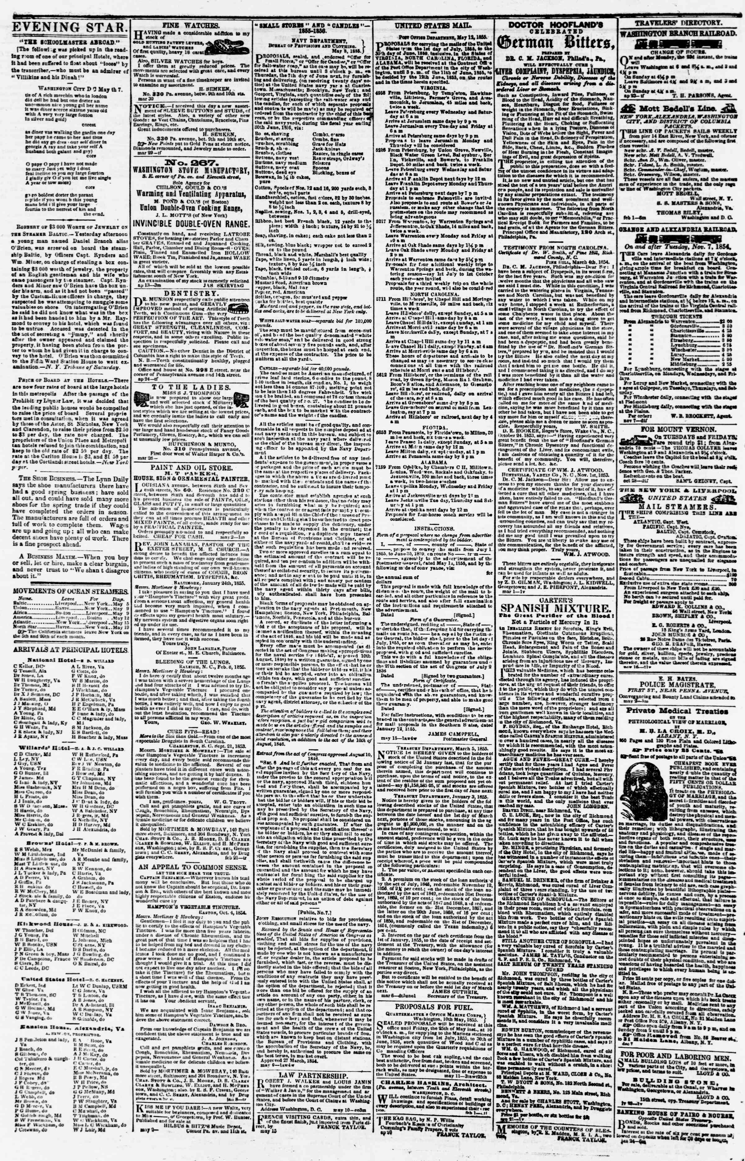 Newspaper of Evening Star dated May 22, 1855 Page 4