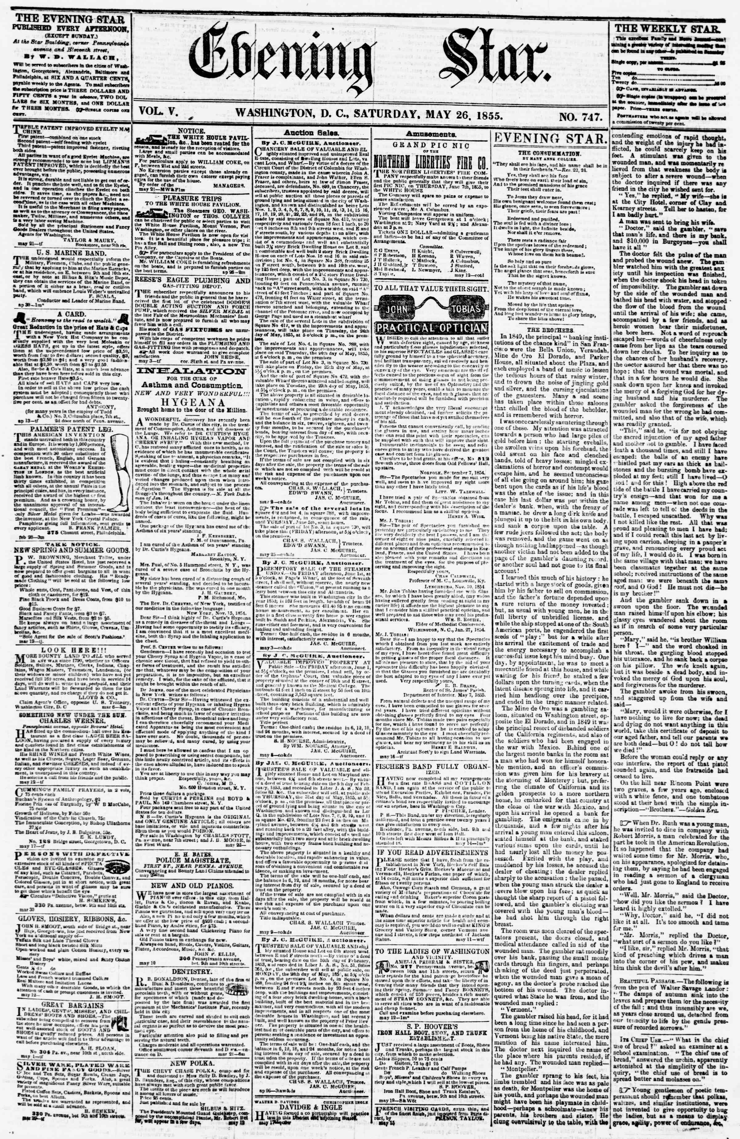 Newspaper of Evening Star dated May 26, 1855 Page 1