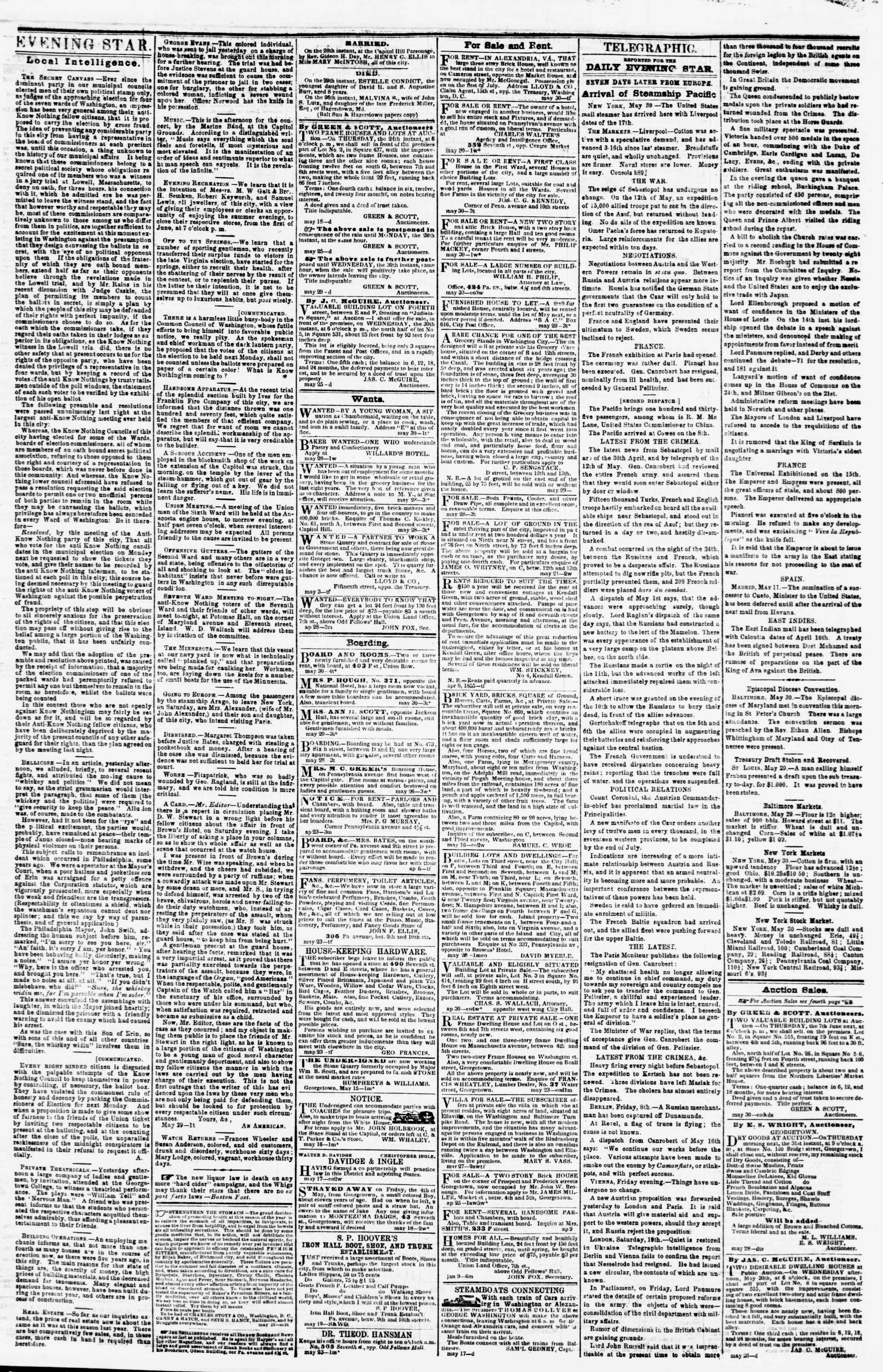Newspaper of Evening Star dated May 30, 1855 Page 3