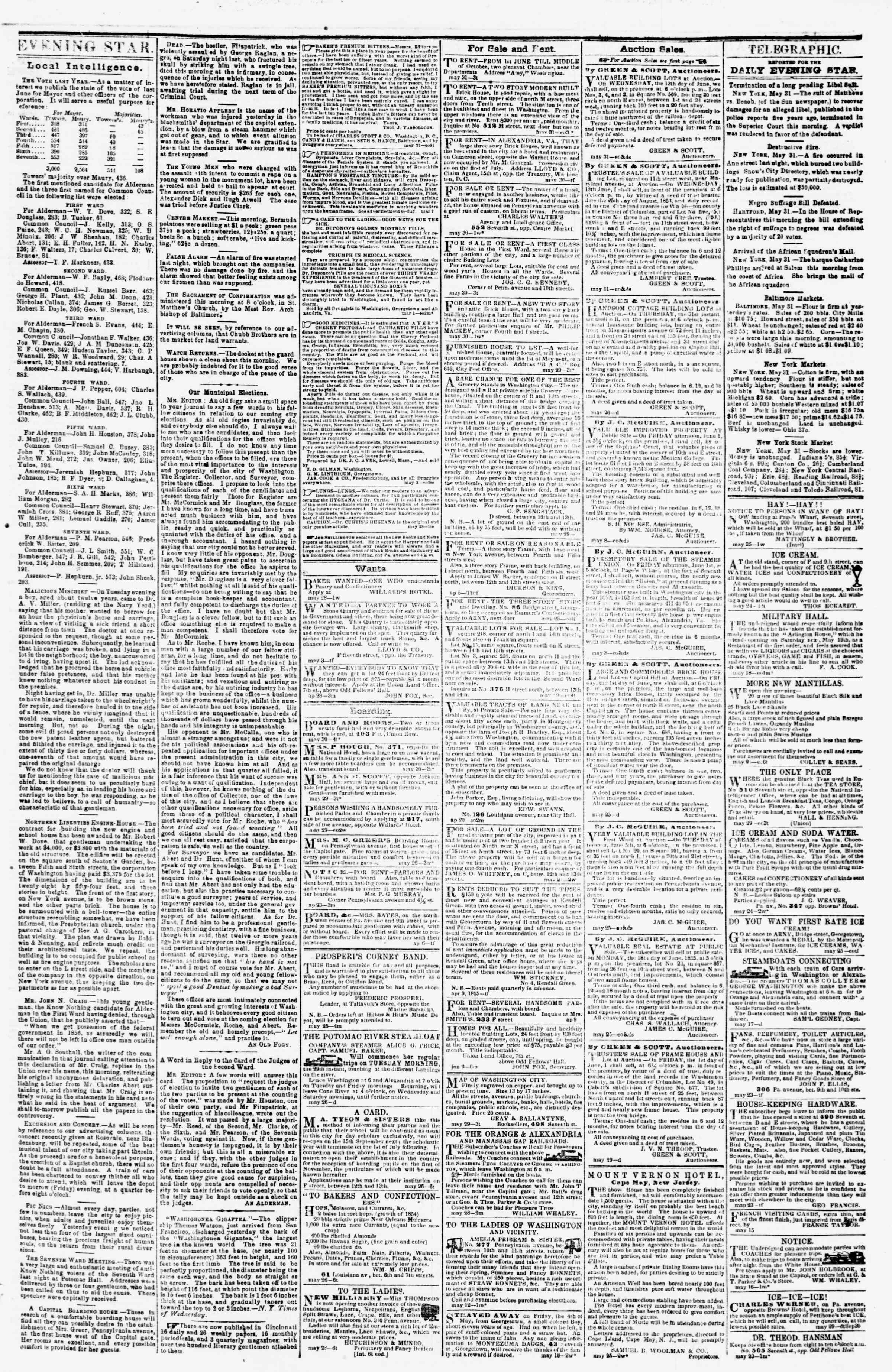 Newspaper of Evening Star dated May 31, 1855 Page 3