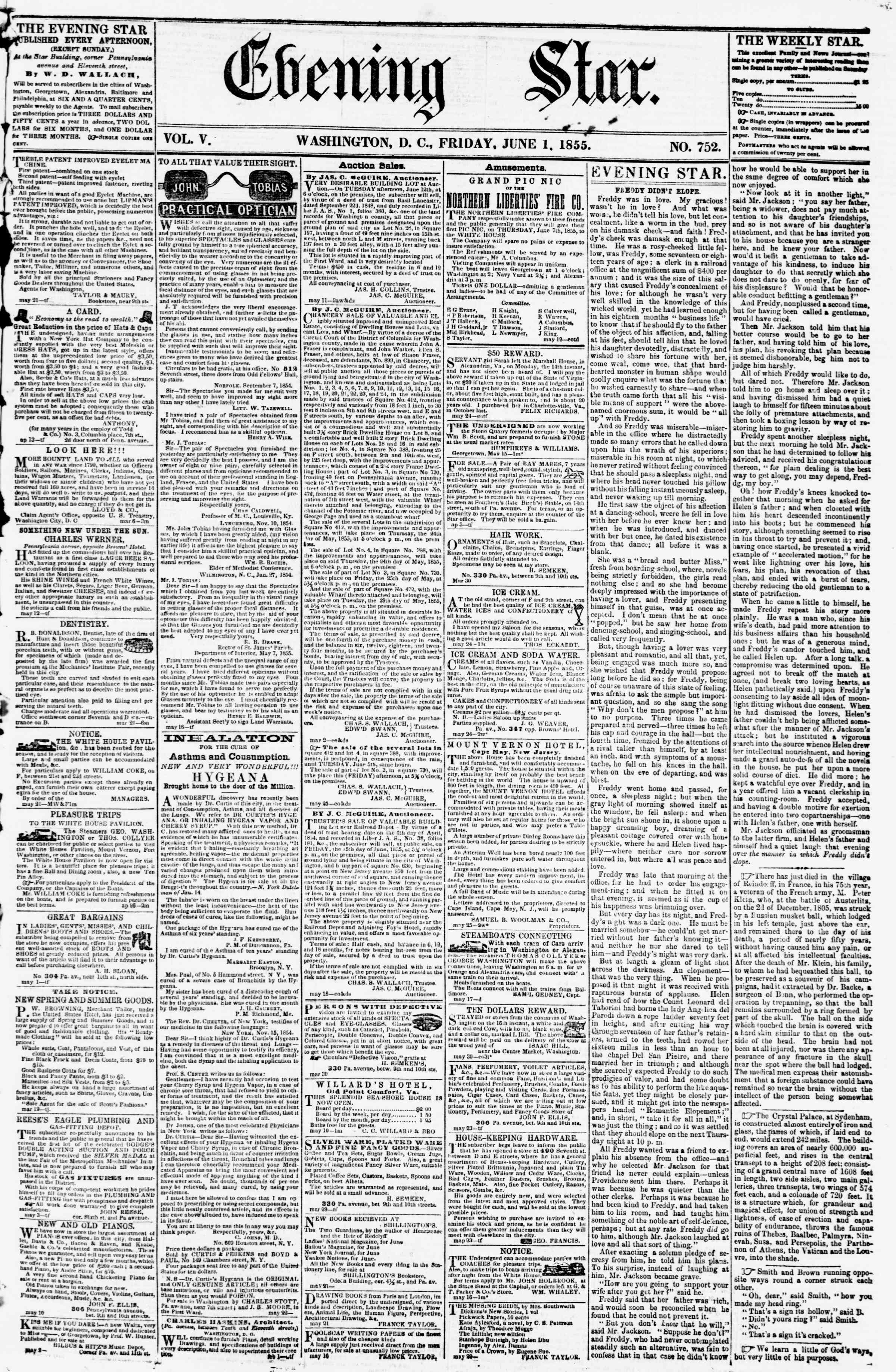 Newspaper of Evening Star dated June 1, 1855 Page 1