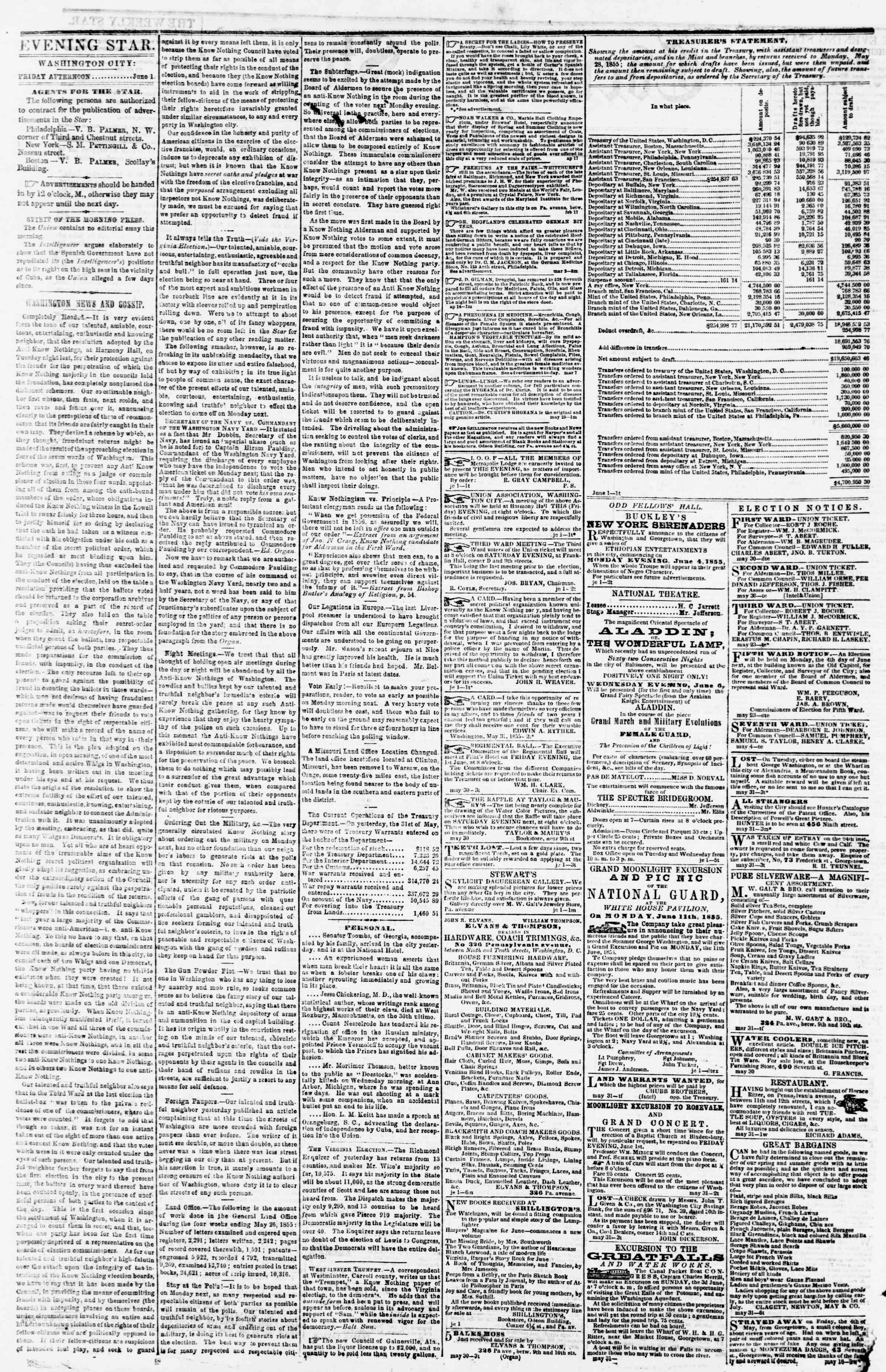 Newspaper of Evening Star dated June 1, 1855 Page 2