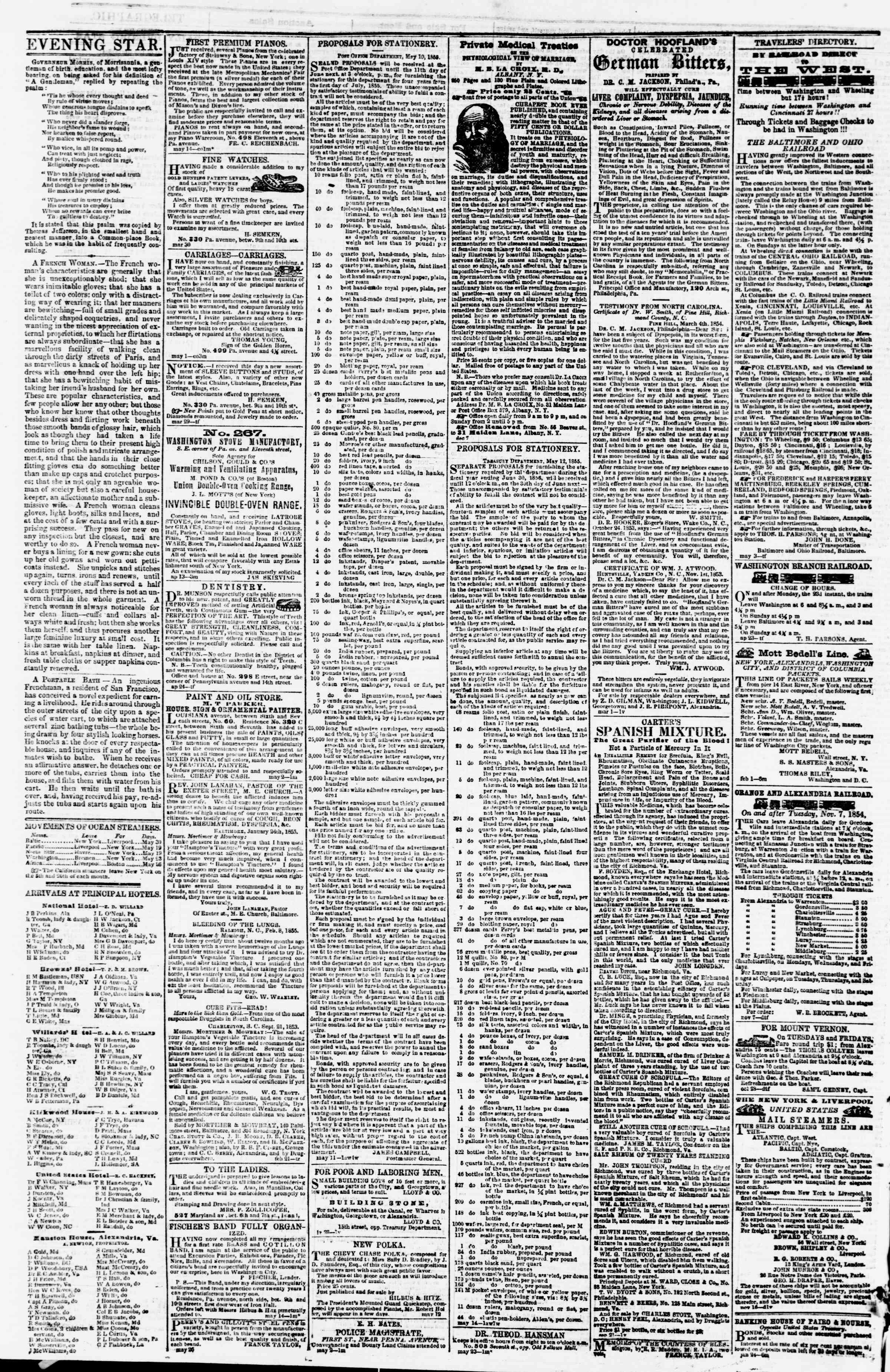 Newspaper of Evening Star dated June 1, 1855 Page 4