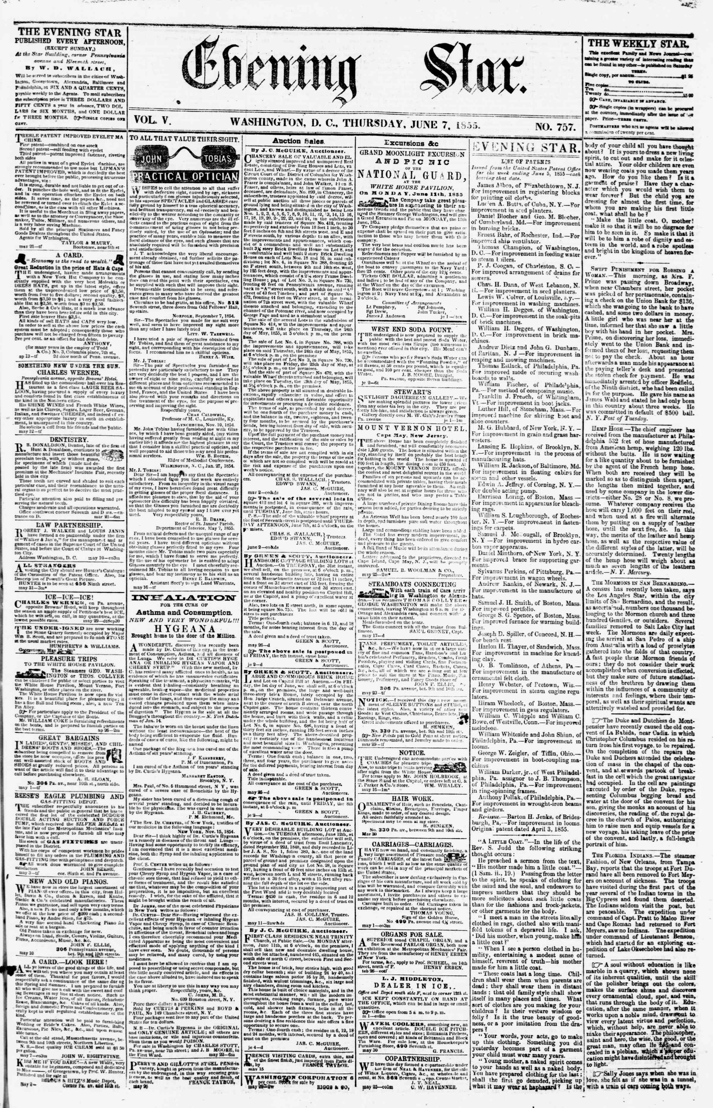 Newspaper of Evening Star dated June 7, 1855 Page 1