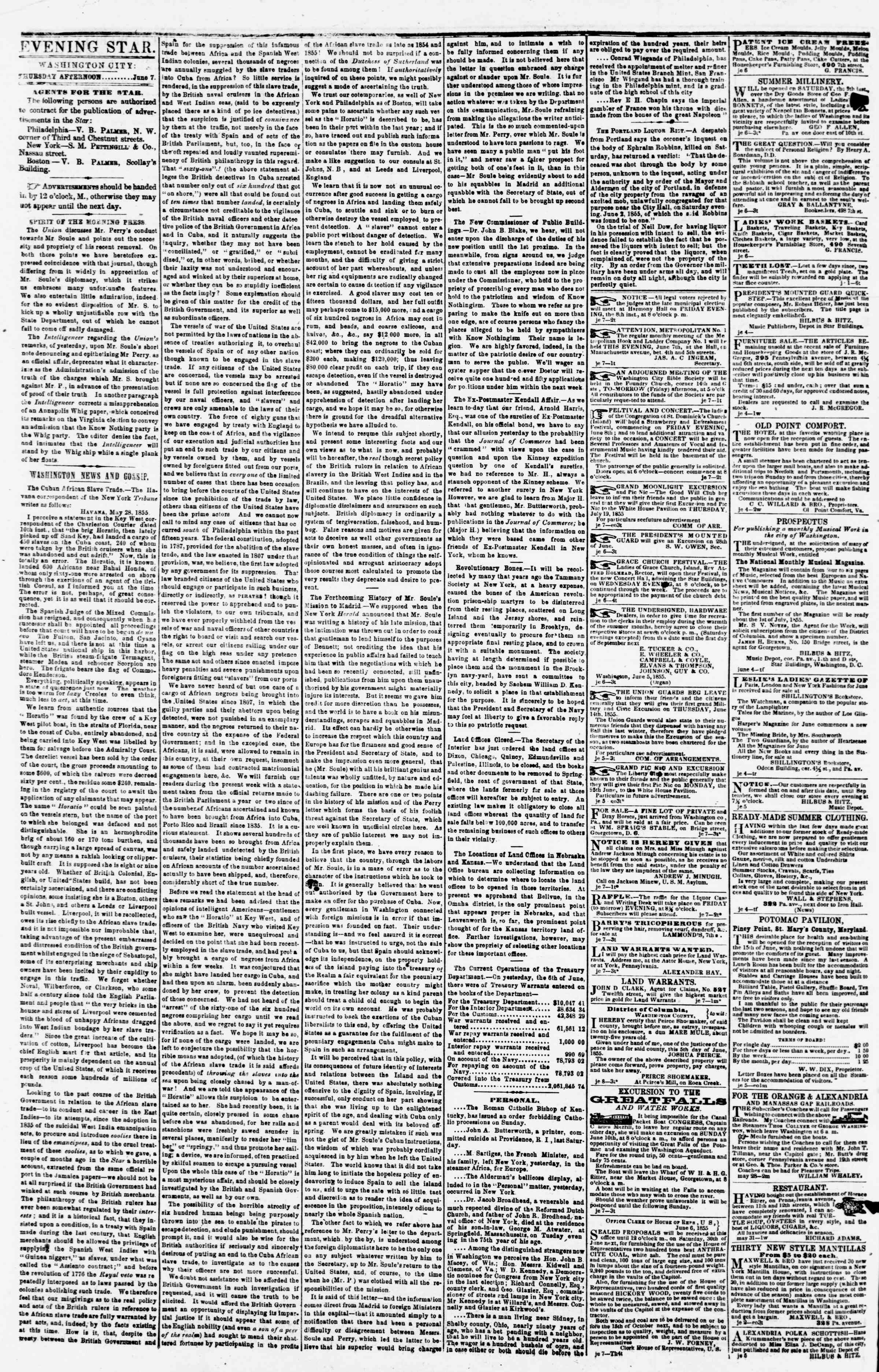 Newspaper of Evening Star dated June 7, 1855 Page 2