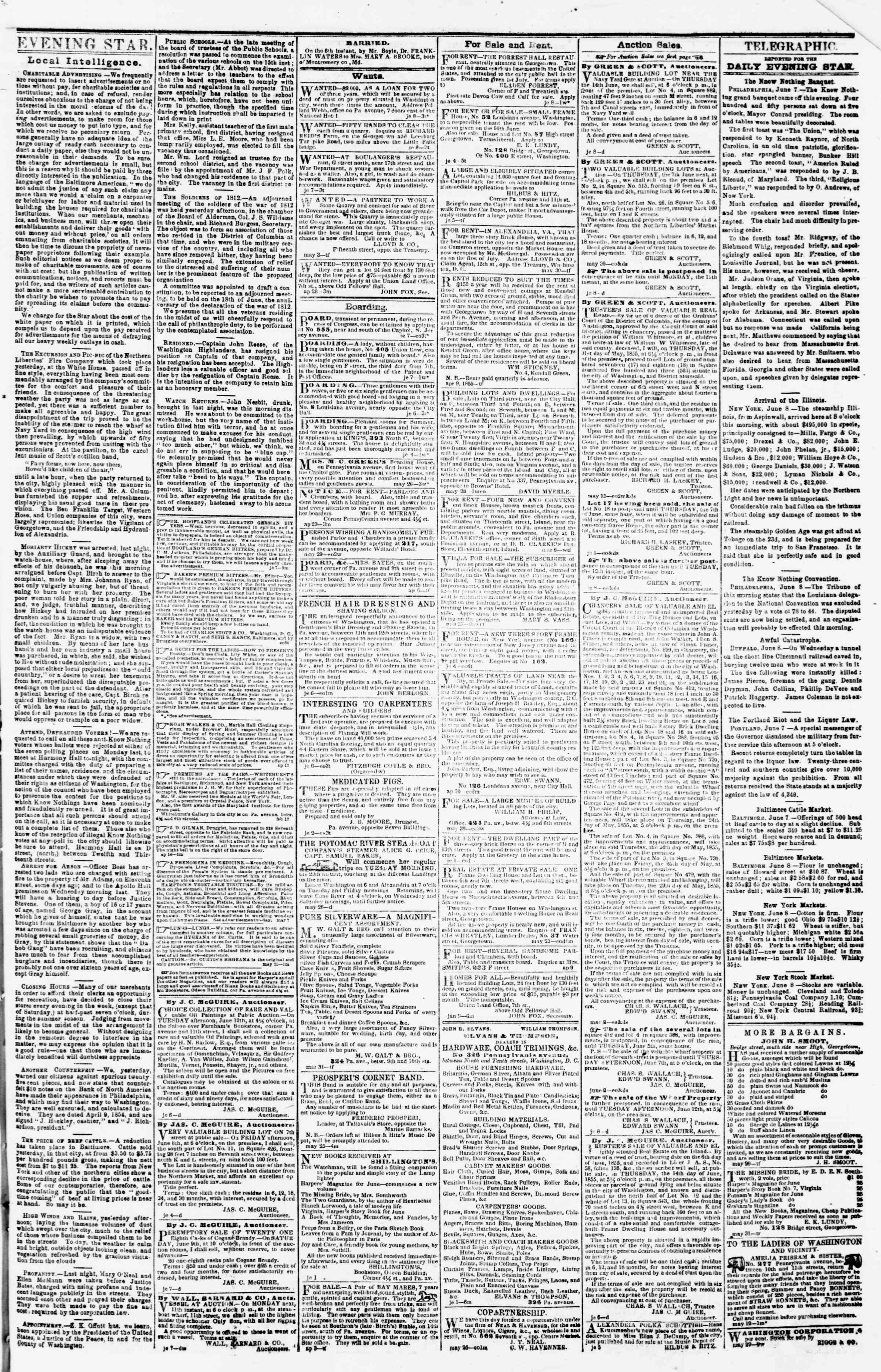 Newspaper of Evening Star dated June 8, 1855 Page 3
