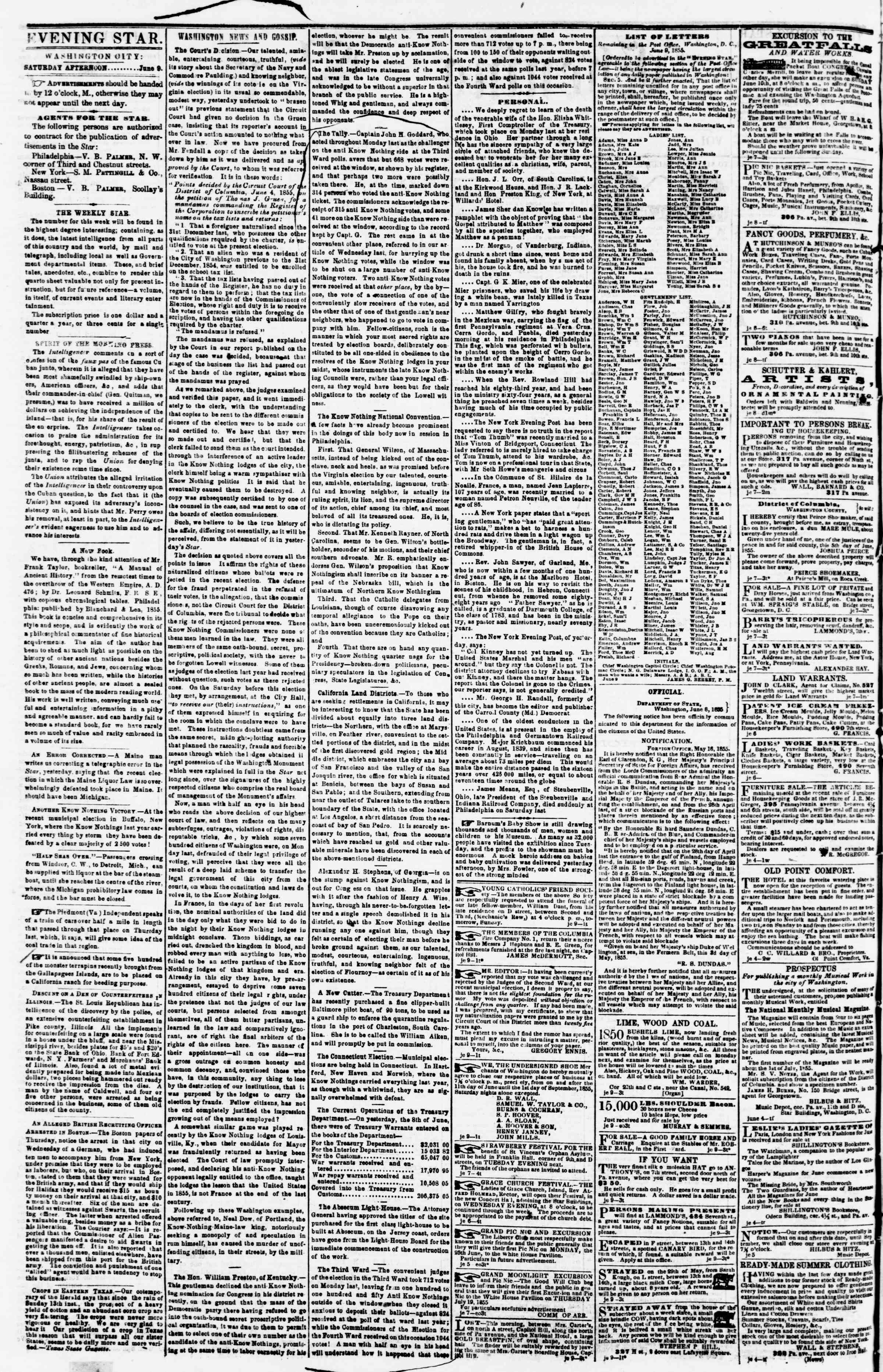 Newspaper of Evening Star dated June 9, 1855 Page 2