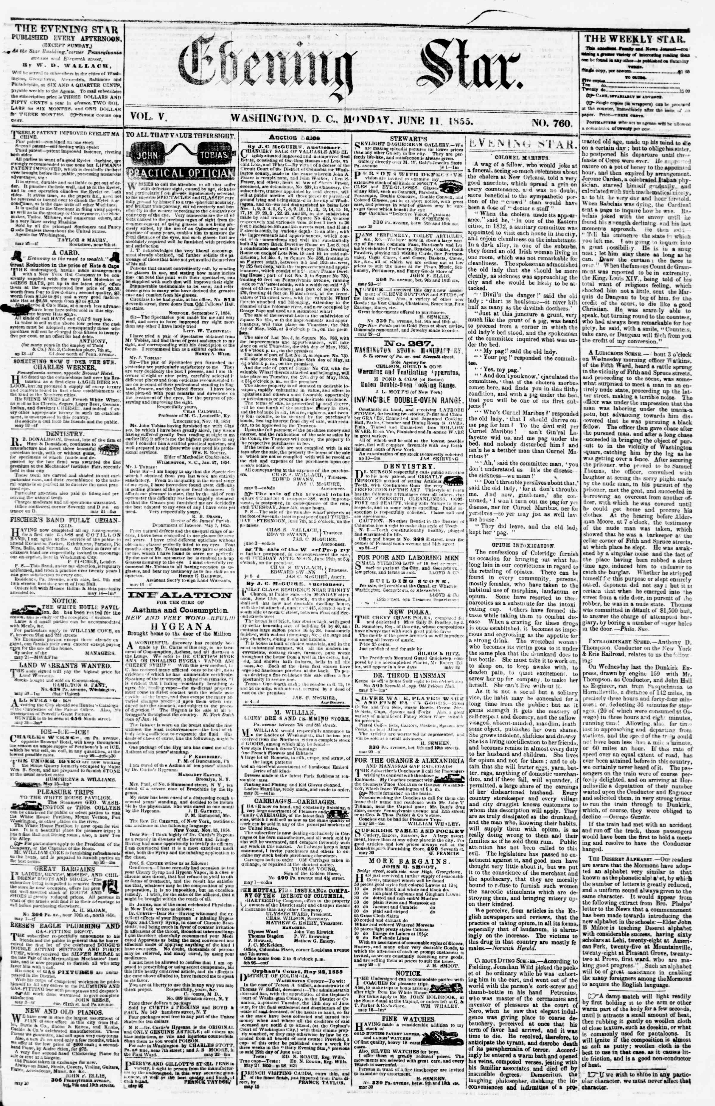 Newspaper of Evening Star dated June 11, 1855 Page 1