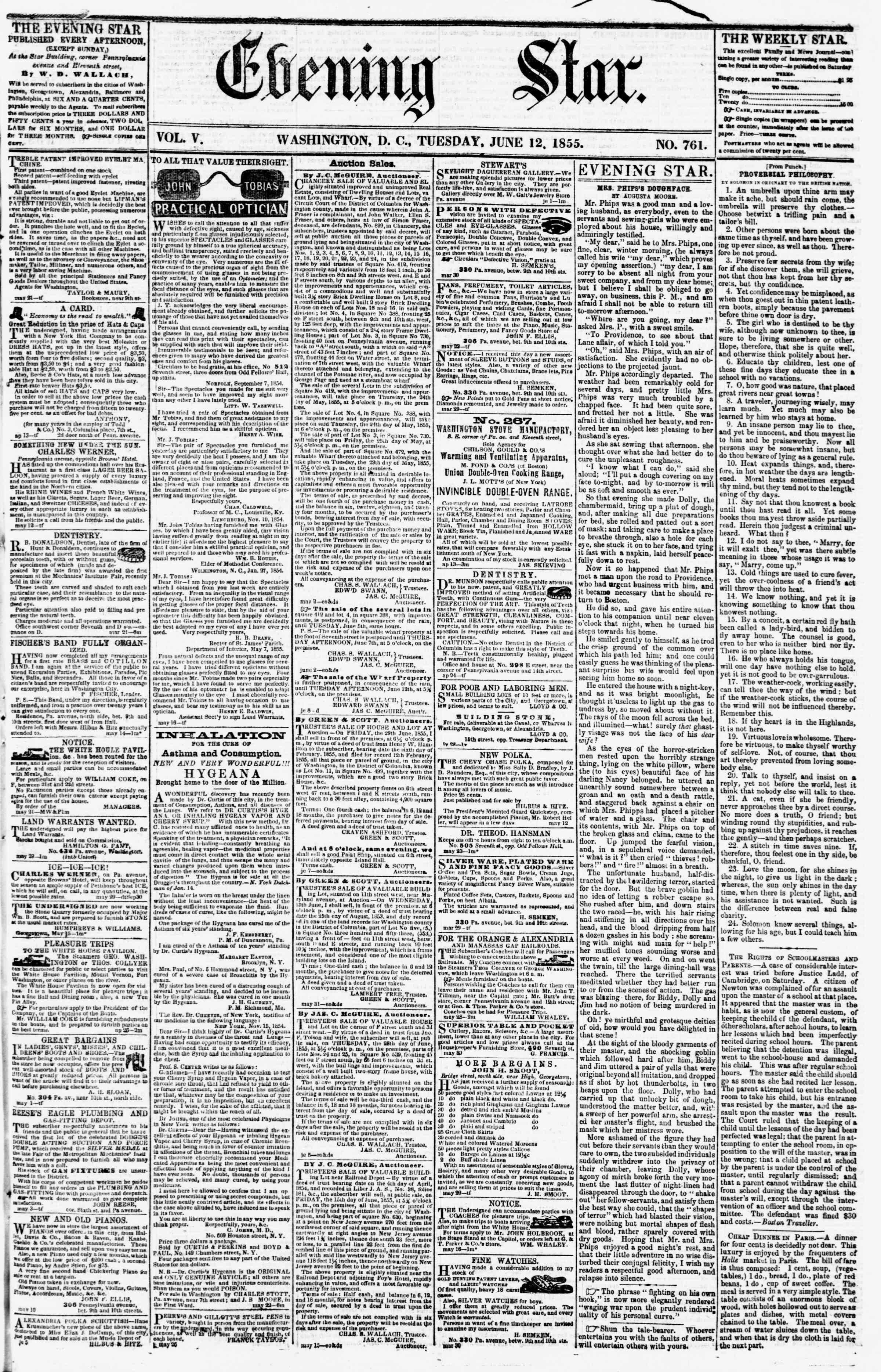 Newspaper of Evening Star dated June 12, 1855 Page 1