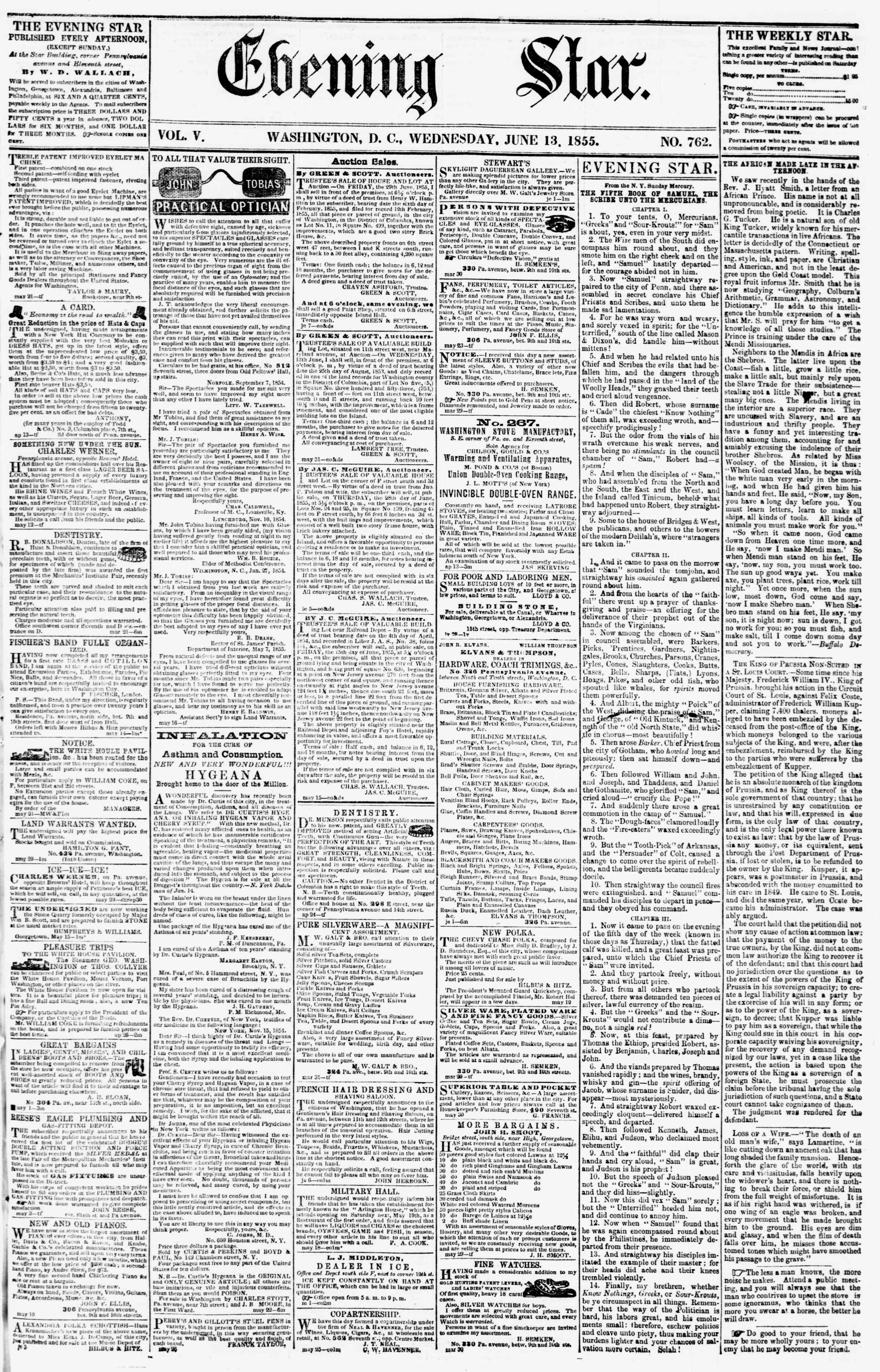 Newspaper of Evening Star dated June 13, 1855 Page 1