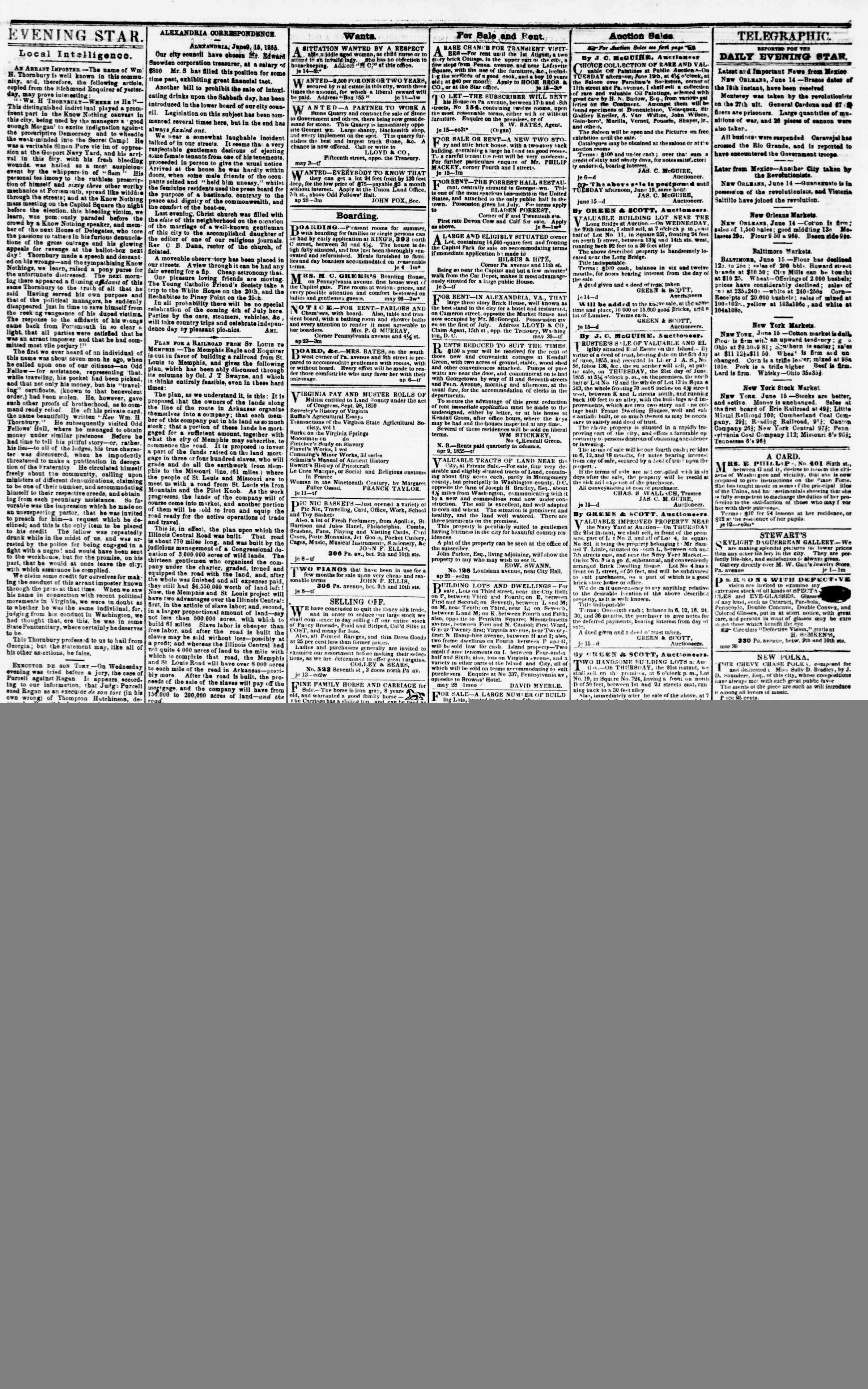 Newspaper of Evening Star dated June 15, 1855 Page 3
