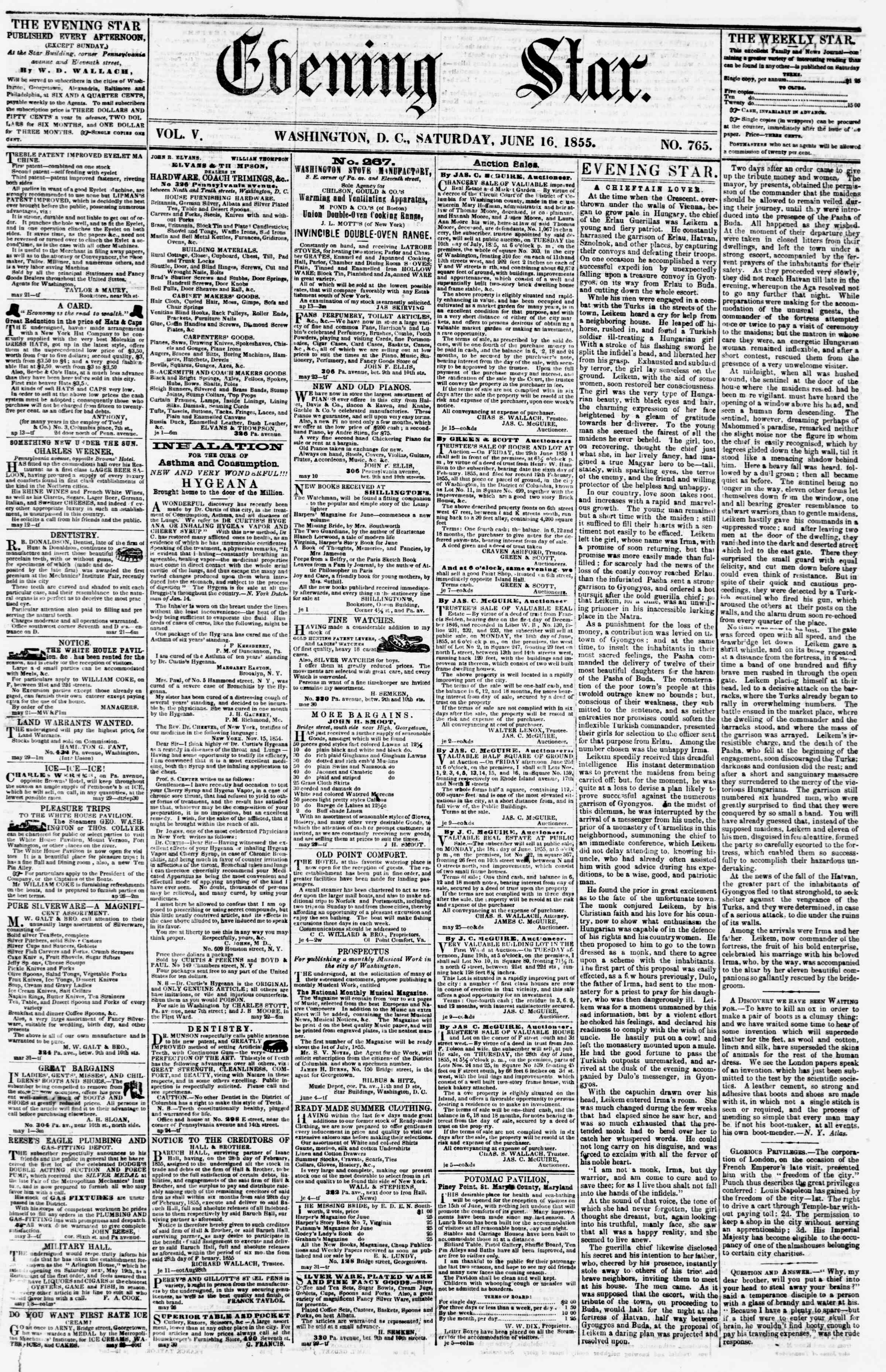 Newspaper of Evening Star dated June 16, 1855 Page 1