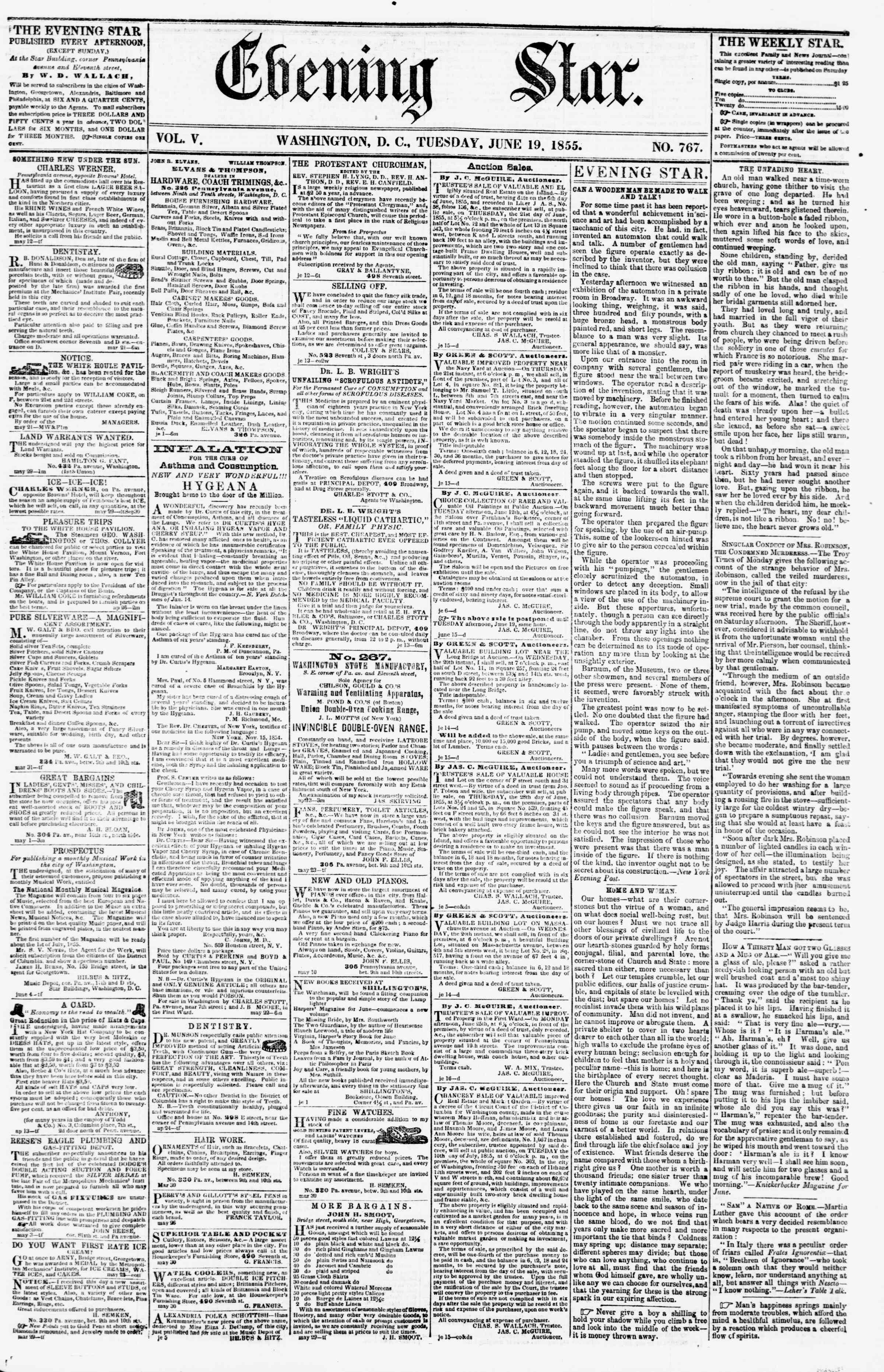 Newspaper of Evening Star dated June 19, 1855 Page 1