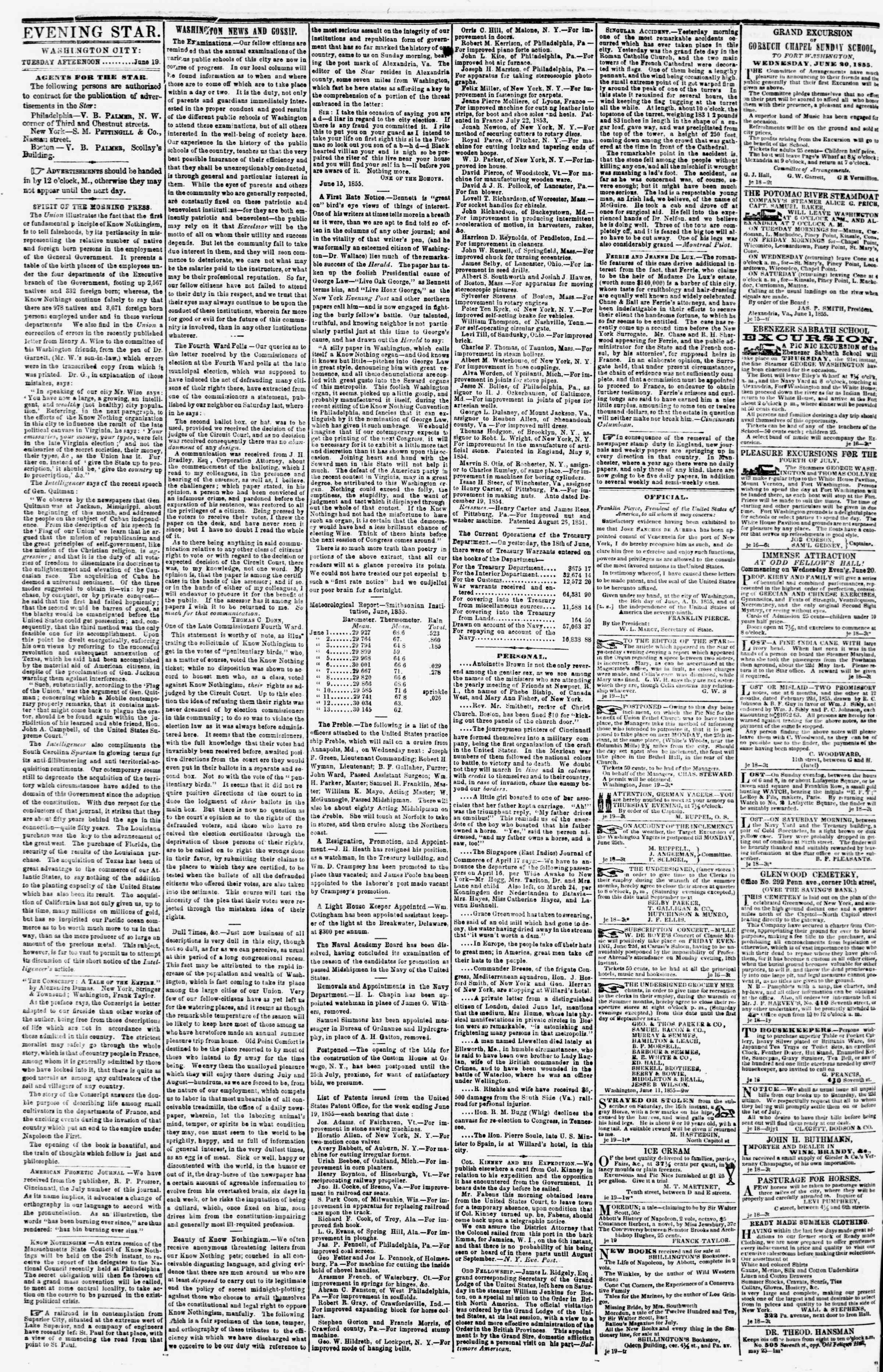 Newspaper of Evening Star dated June 19, 1855 Page 2