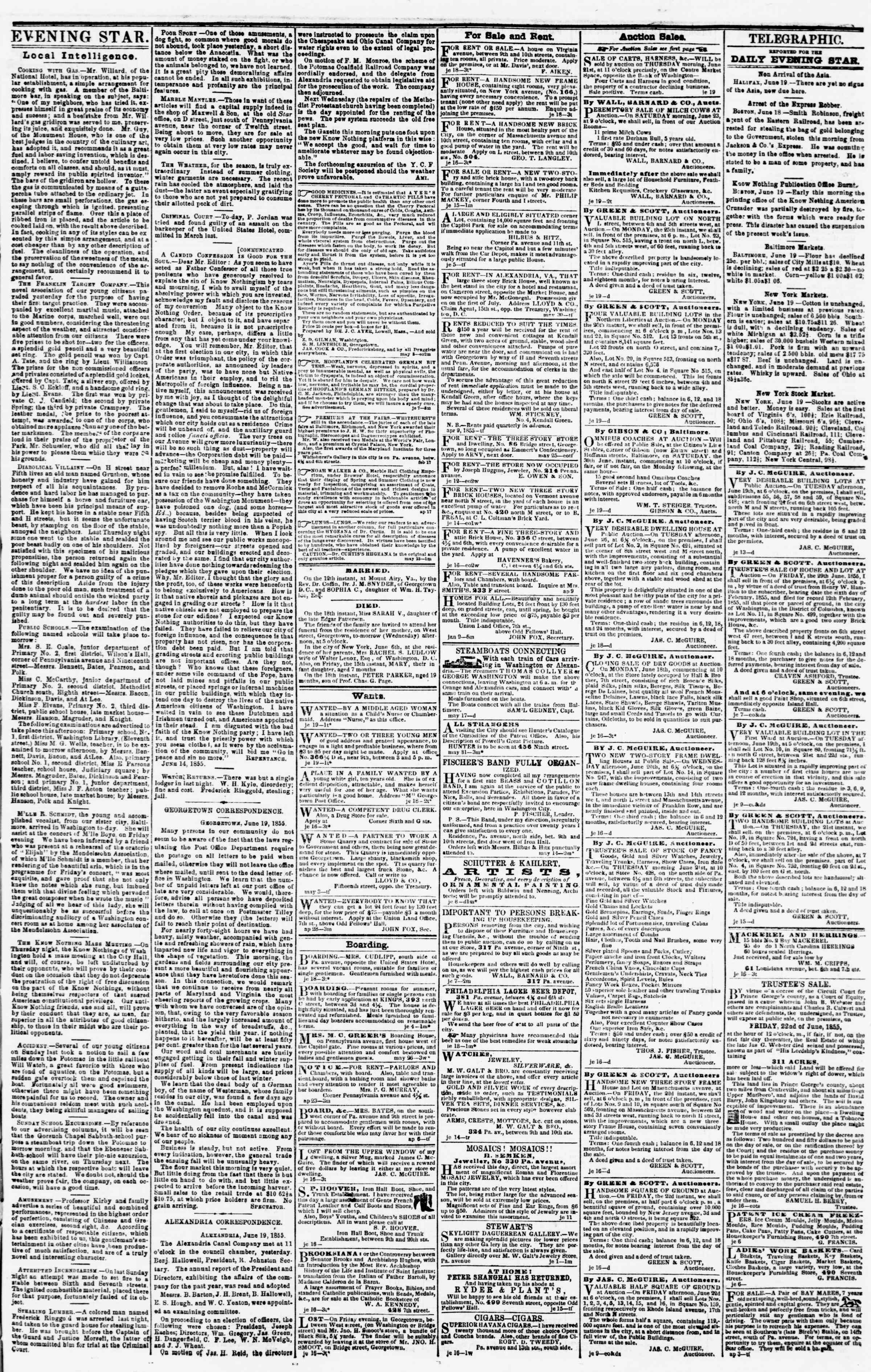 Newspaper of Evening Star dated June 19, 1855 Page 3