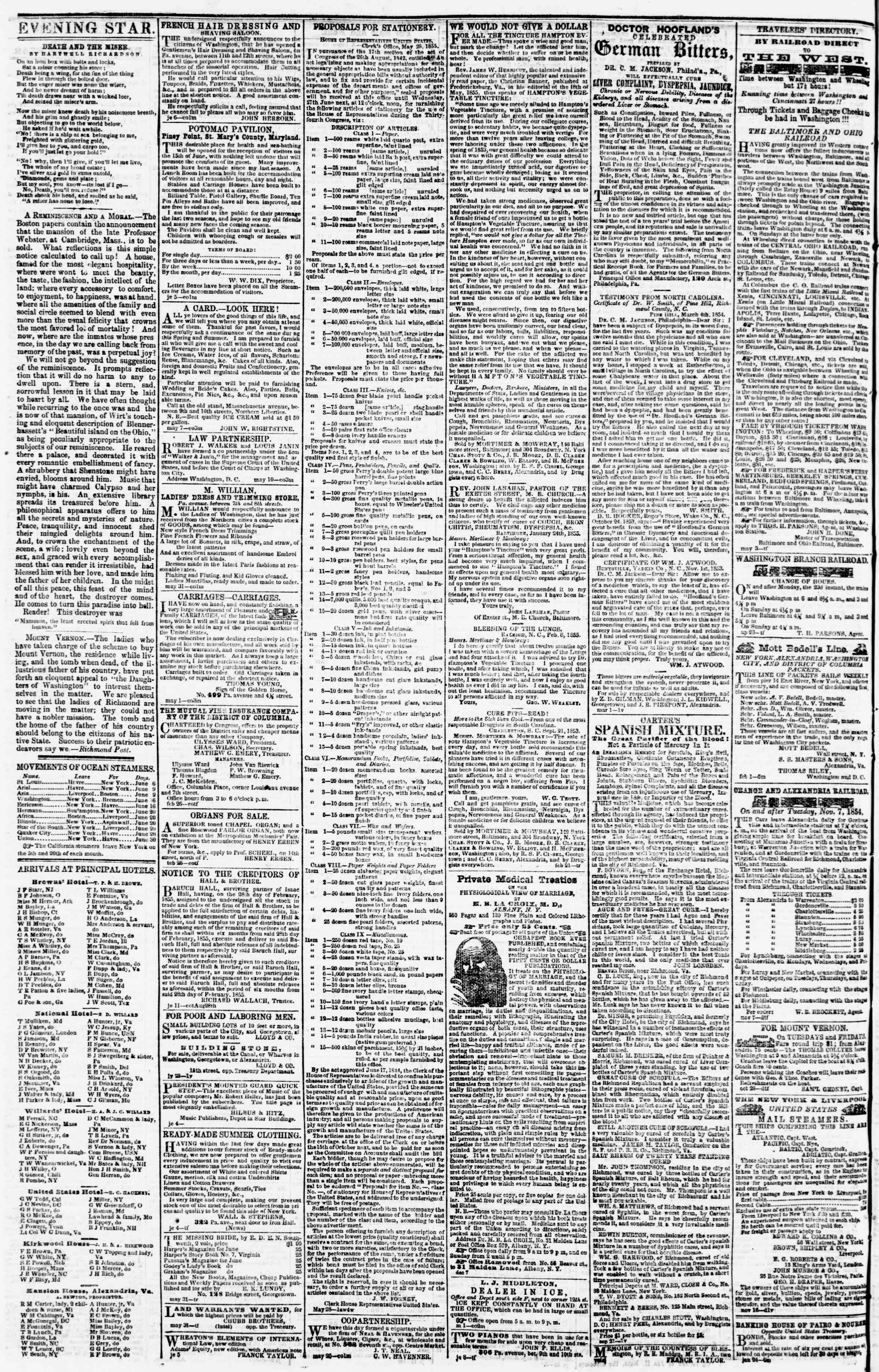 Newspaper of Evening Star dated June 19, 1855 Page 4