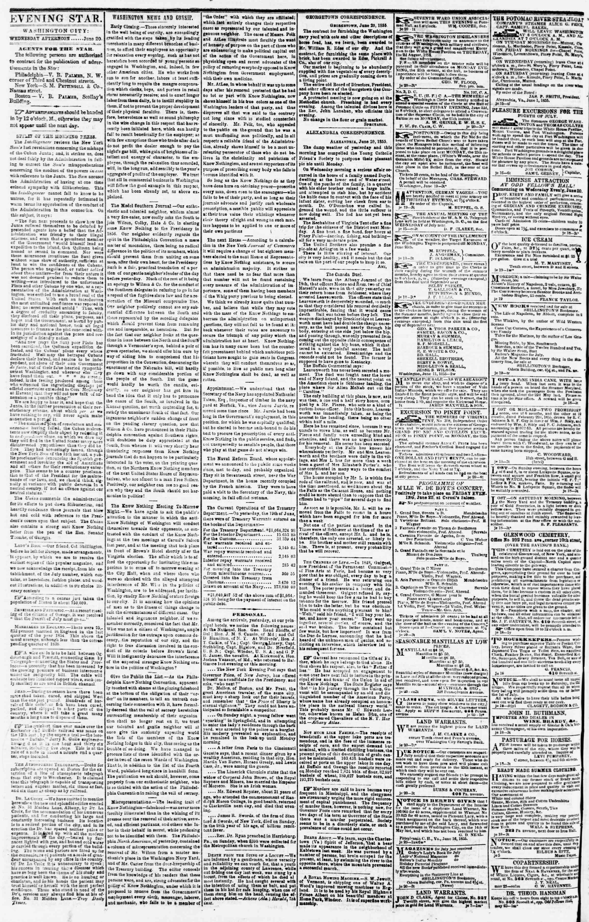 Newspaper of Evening Star dated June 20, 1855 Page 2