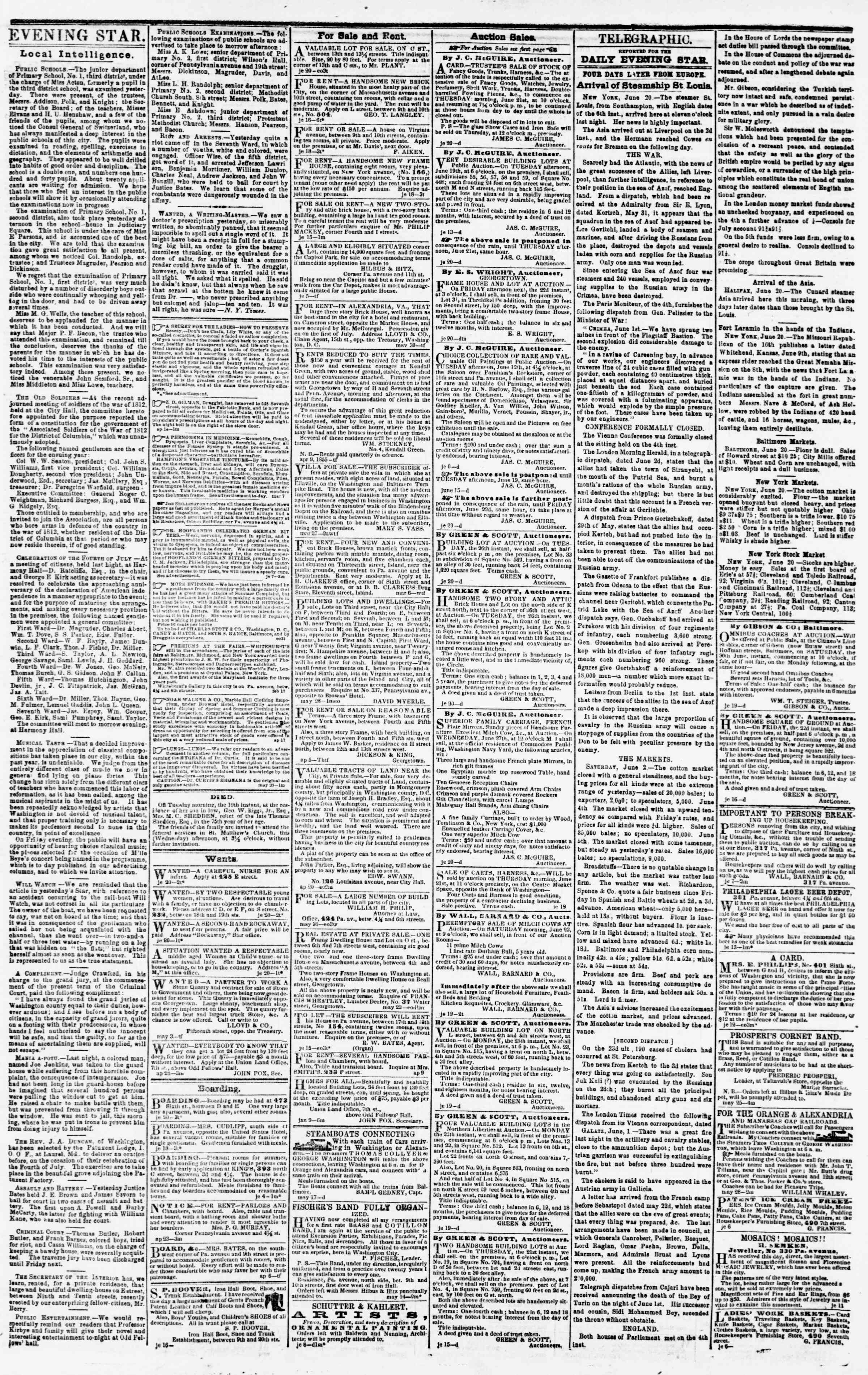 Newspaper of Evening Star dated June 20, 1855 Page 3