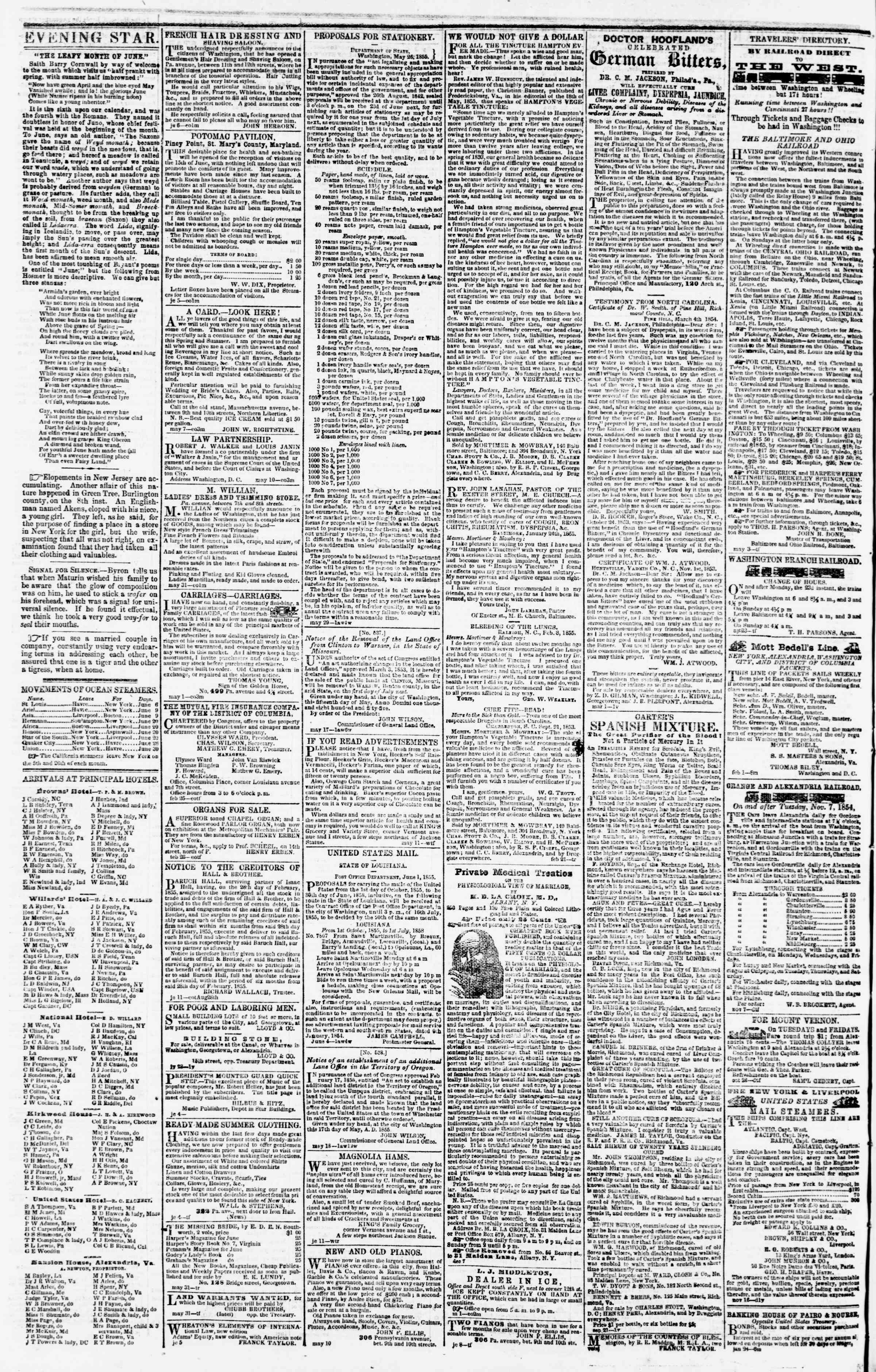 Newspaper of Evening Star dated June 20, 1855 Page 4