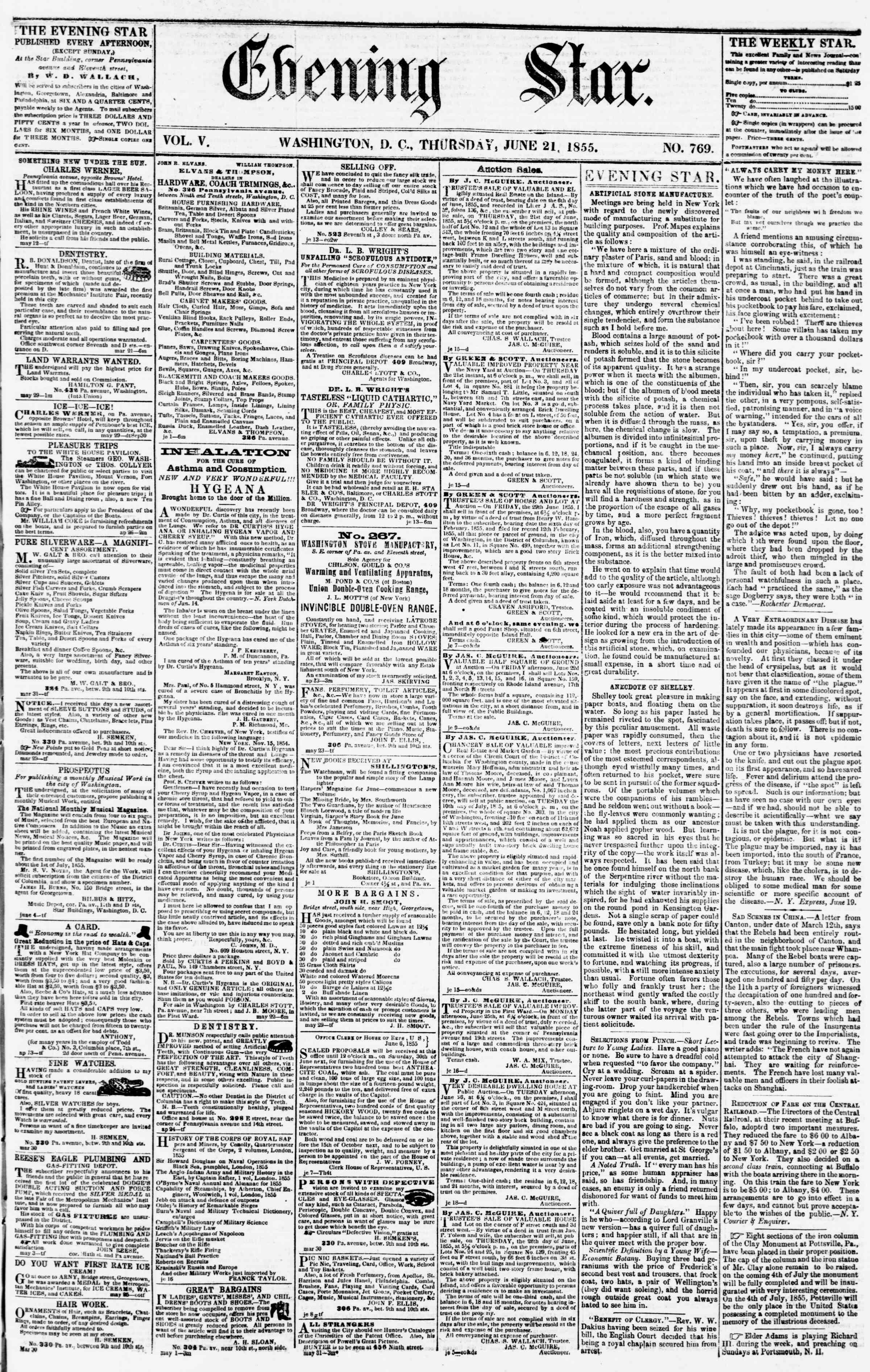 Newspaper of Evening Star dated June 21, 1855 Page 1