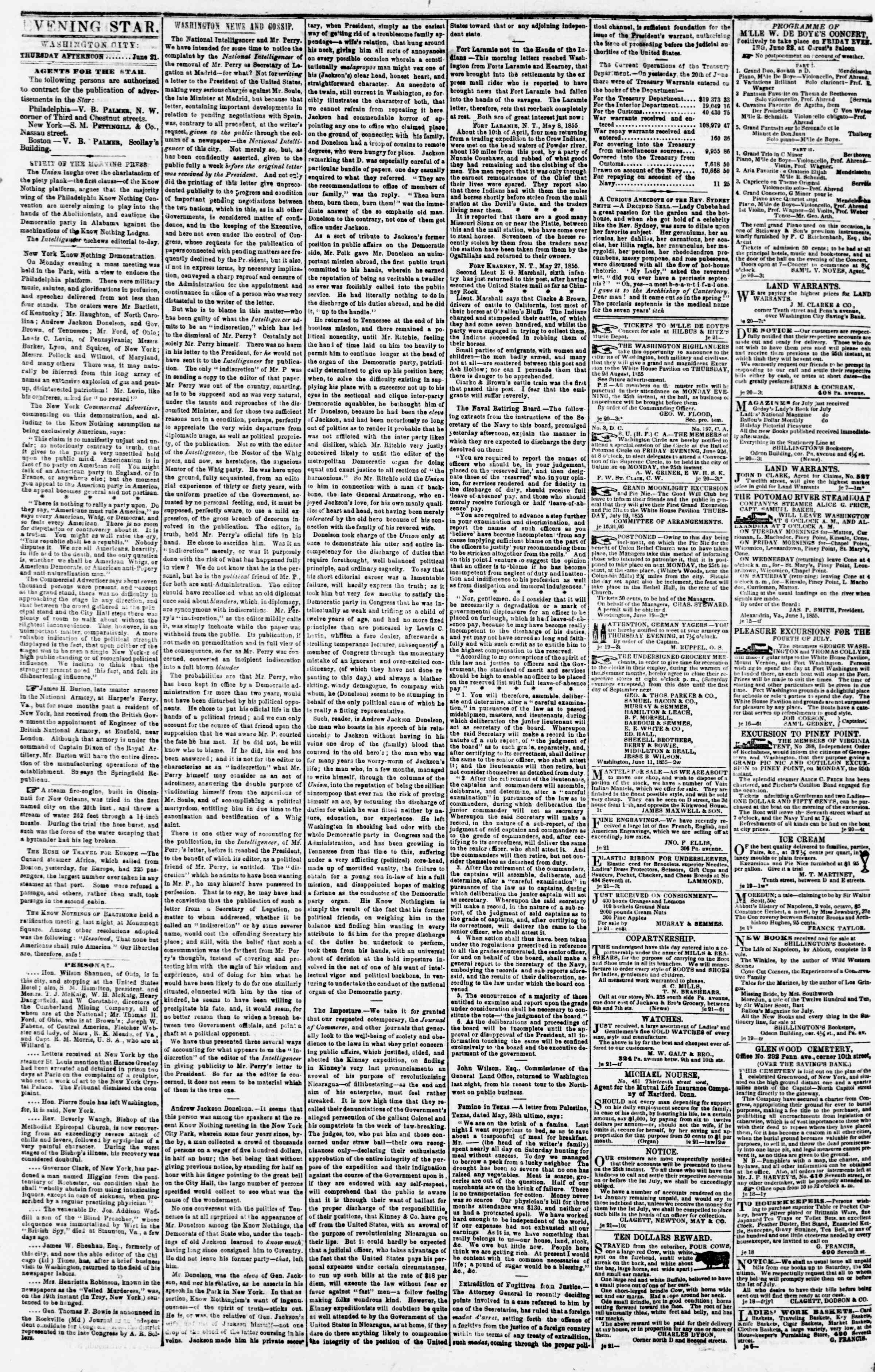 Newspaper of Evening Star dated June 21, 1855 Page 2