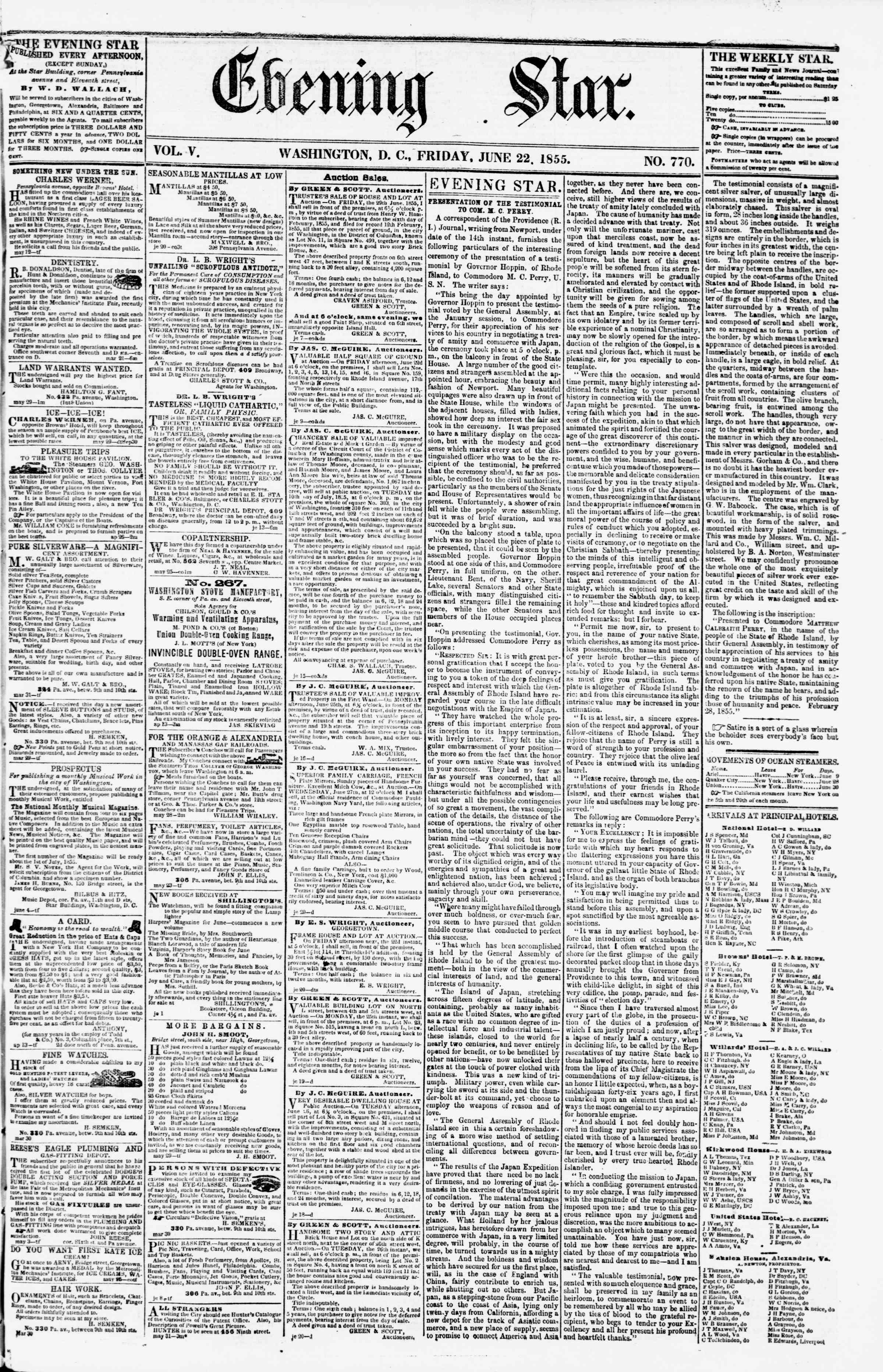 Newspaper of Evening Star dated June 22, 1855 Page 1