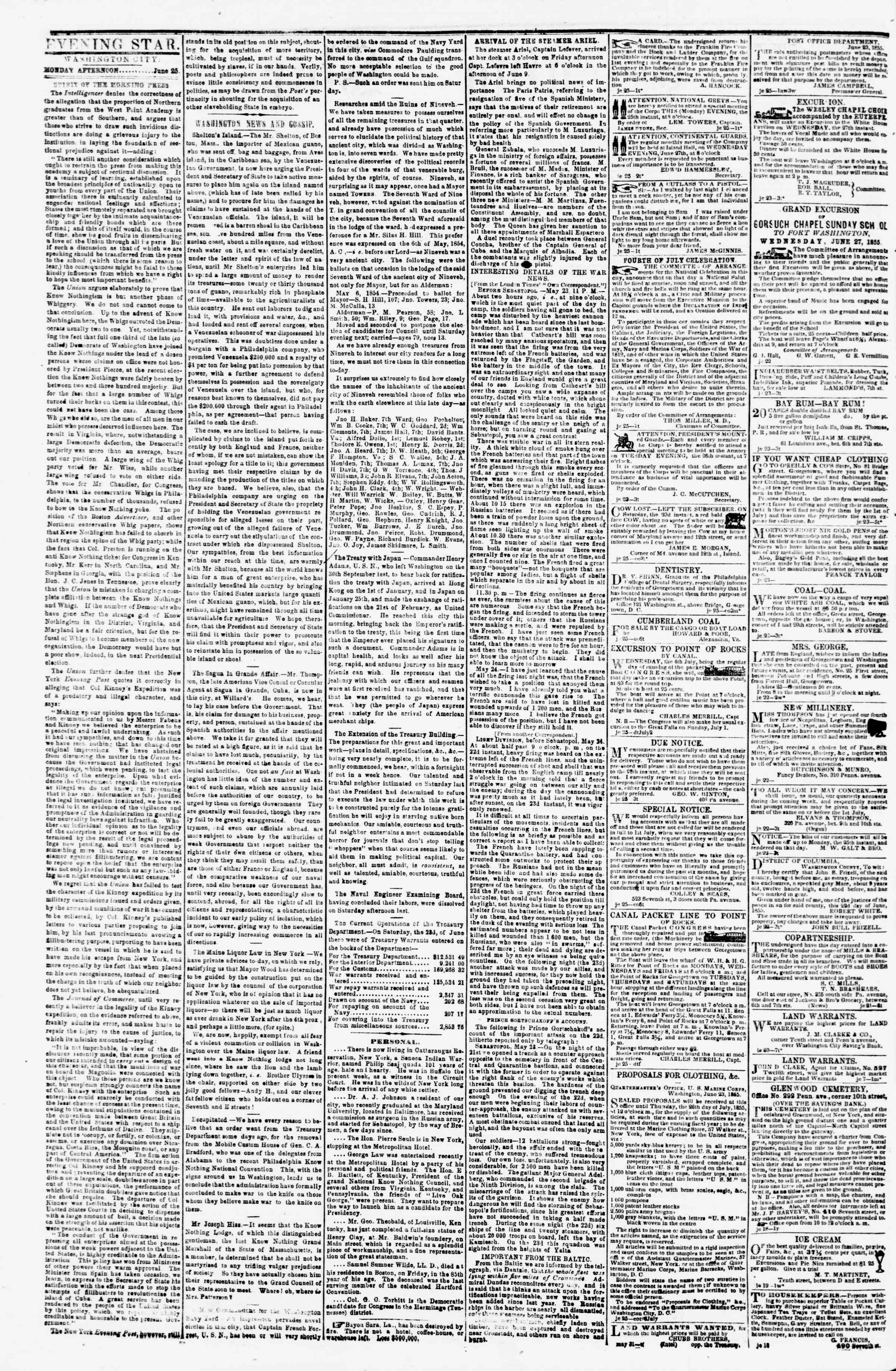 Newspaper of Evening Star dated June 25, 1855 Page 2