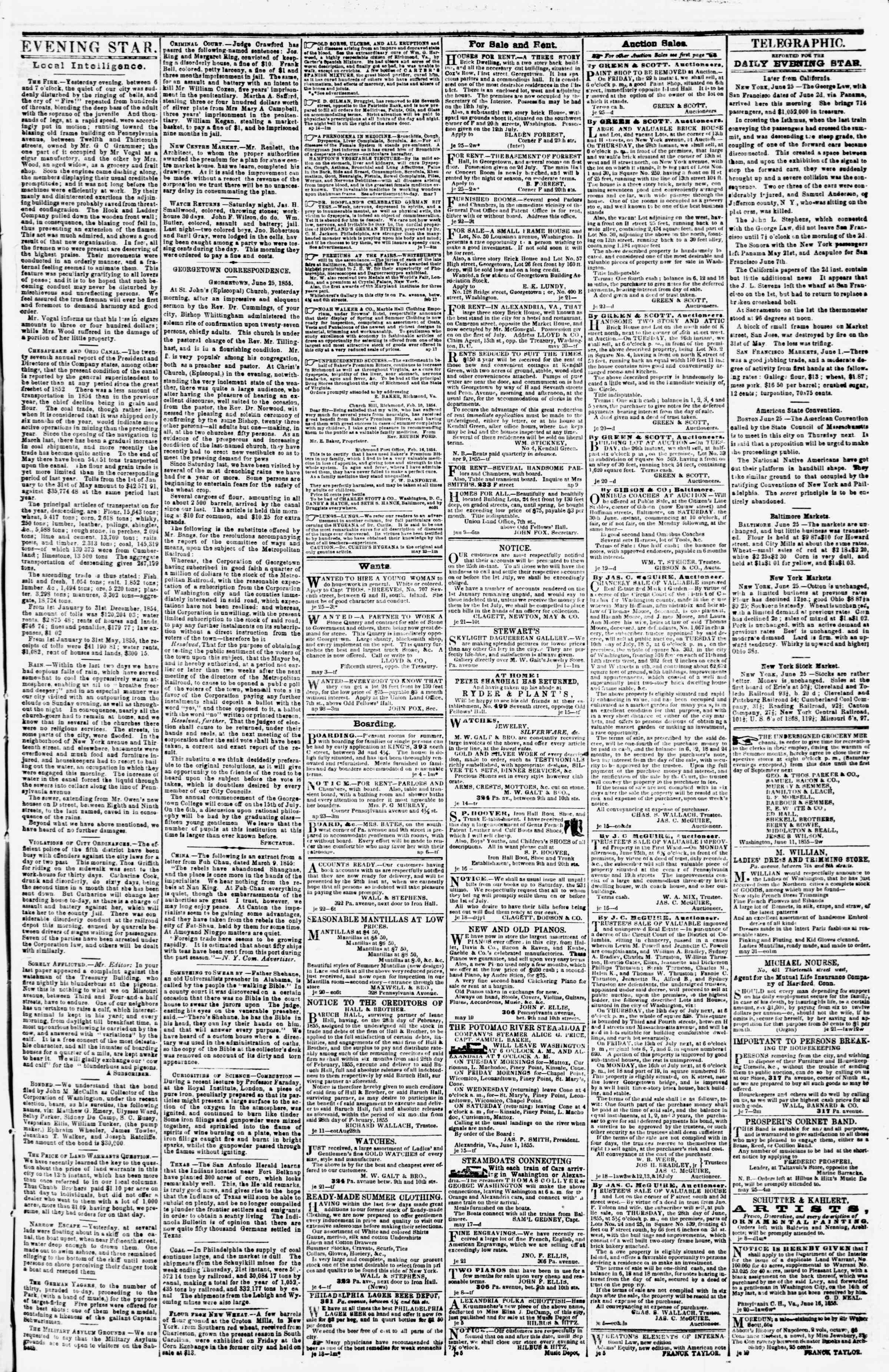 Newspaper of Evening Star dated June 25, 1855 Page 3
