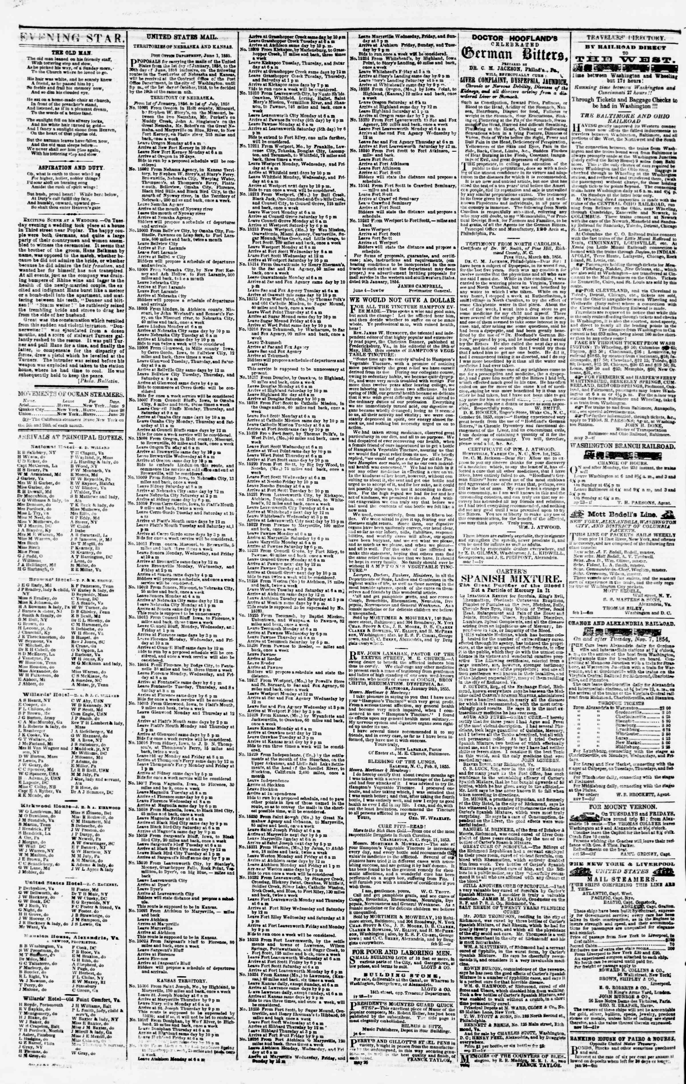 Newspaper of Evening Star dated June 25, 1855 Page 4