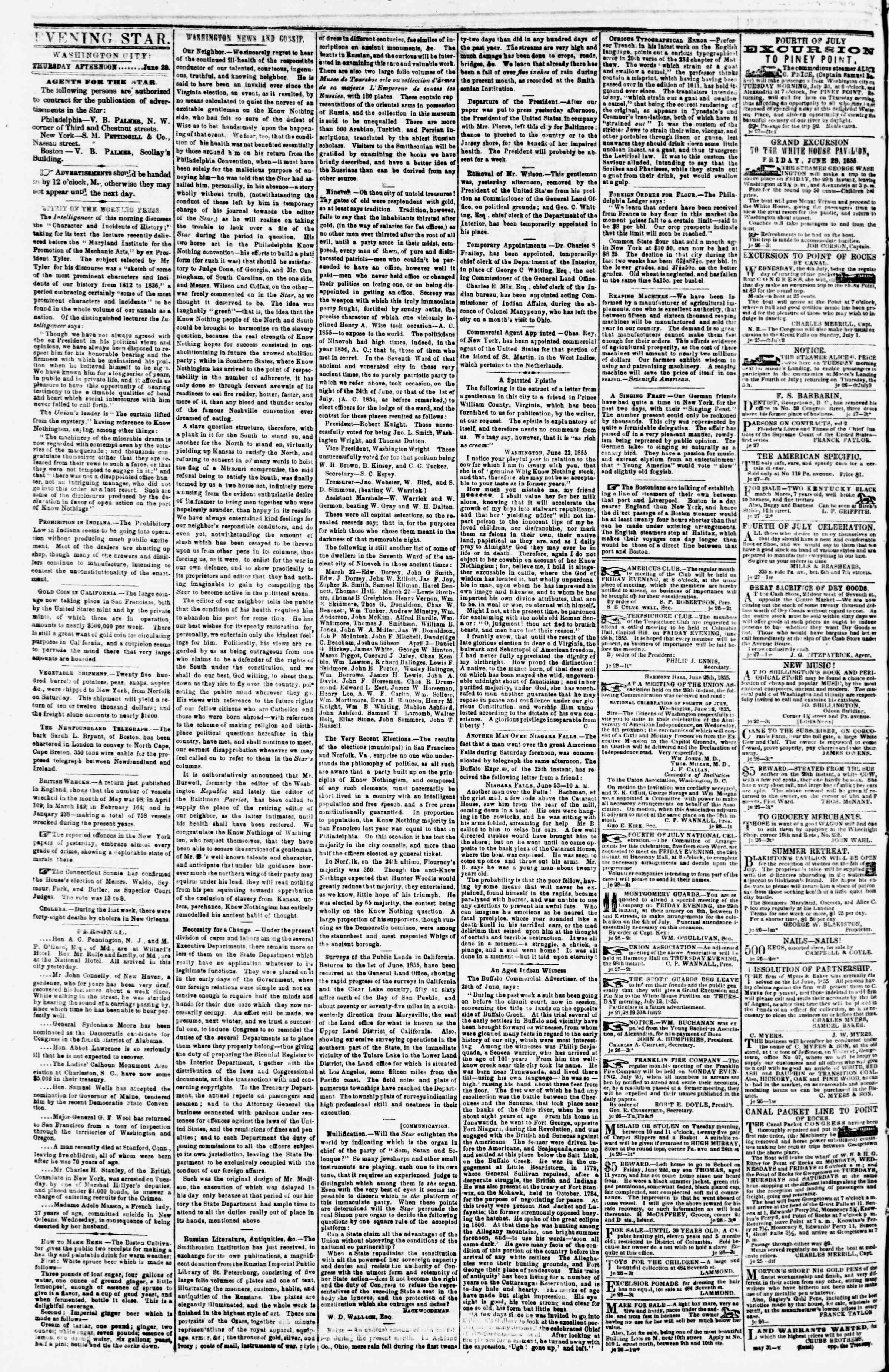 Newspaper of Evening Star dated June 28, 1855 Page 2