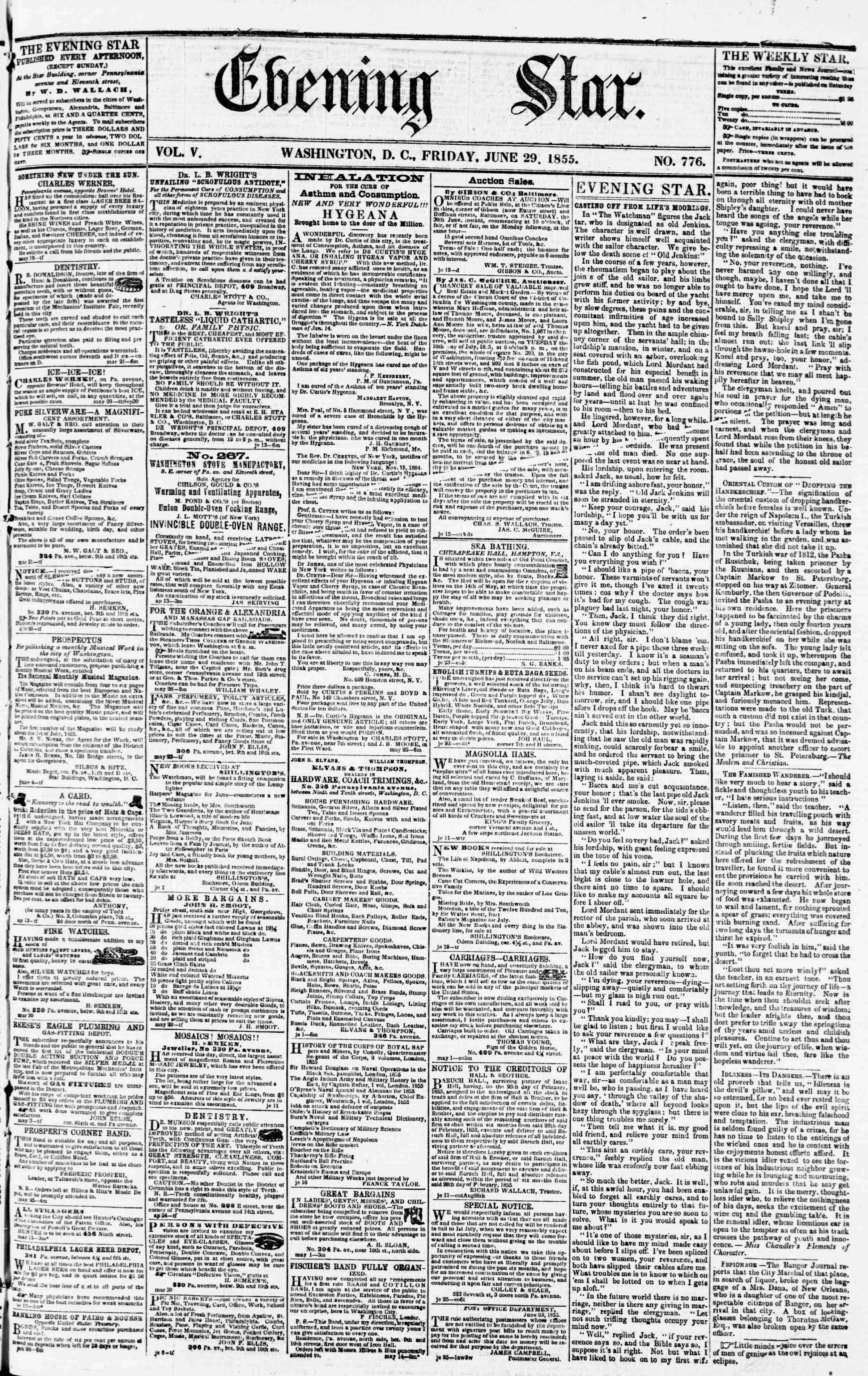 Newspaper of Evening Star dated June 29, 1855 Page 1