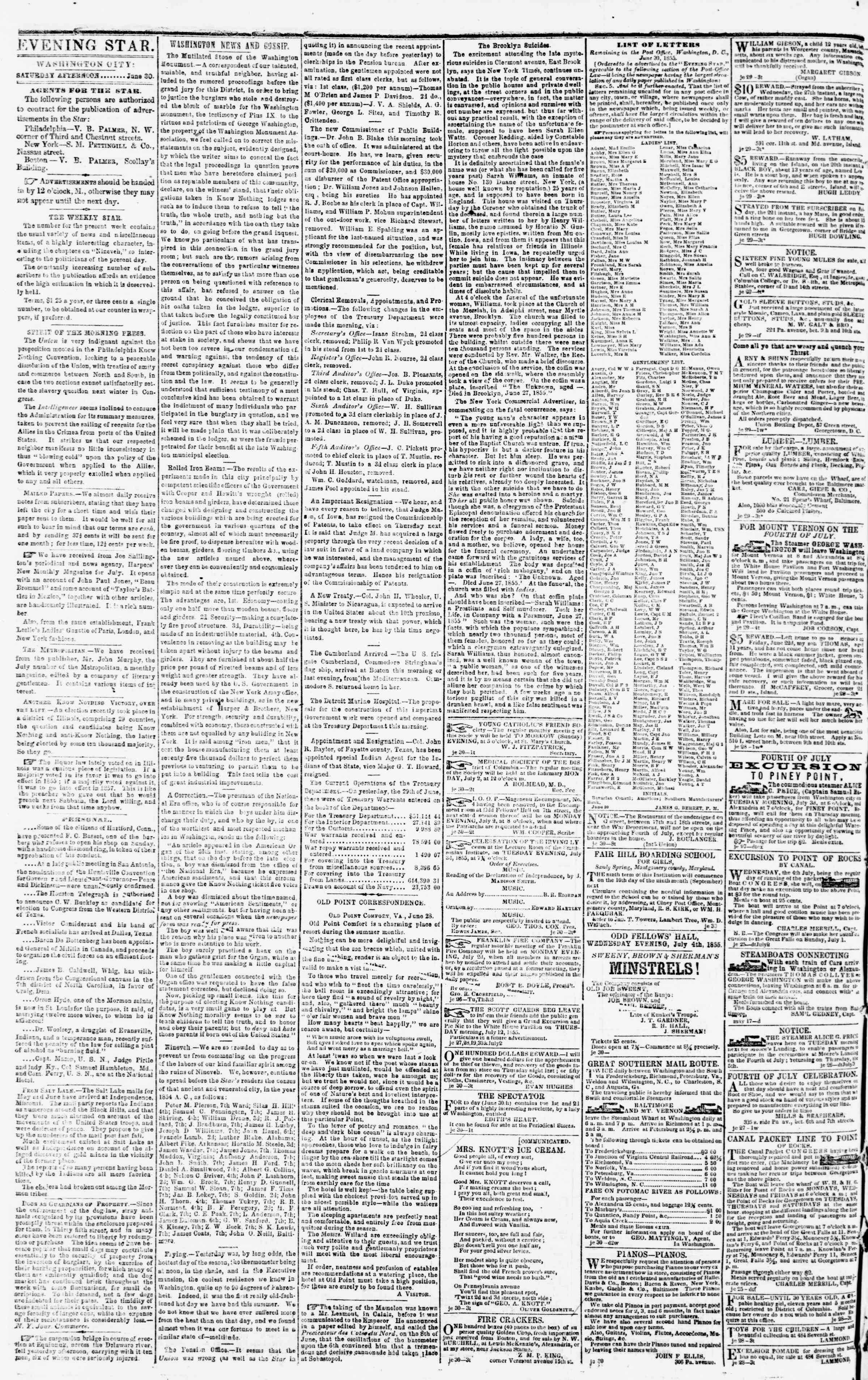 Newspaper of Evening Star dated 30 Haziran 1855 Page 2