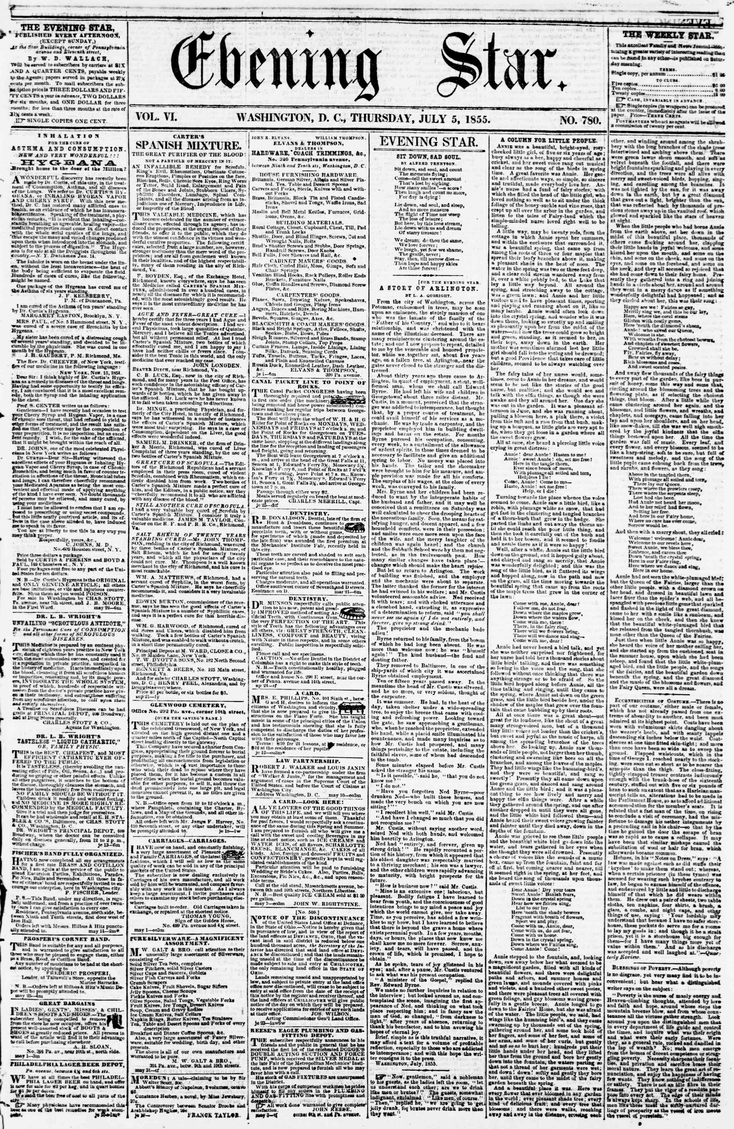Newspaper of Evening Star dated July 5, 1855 Page 1