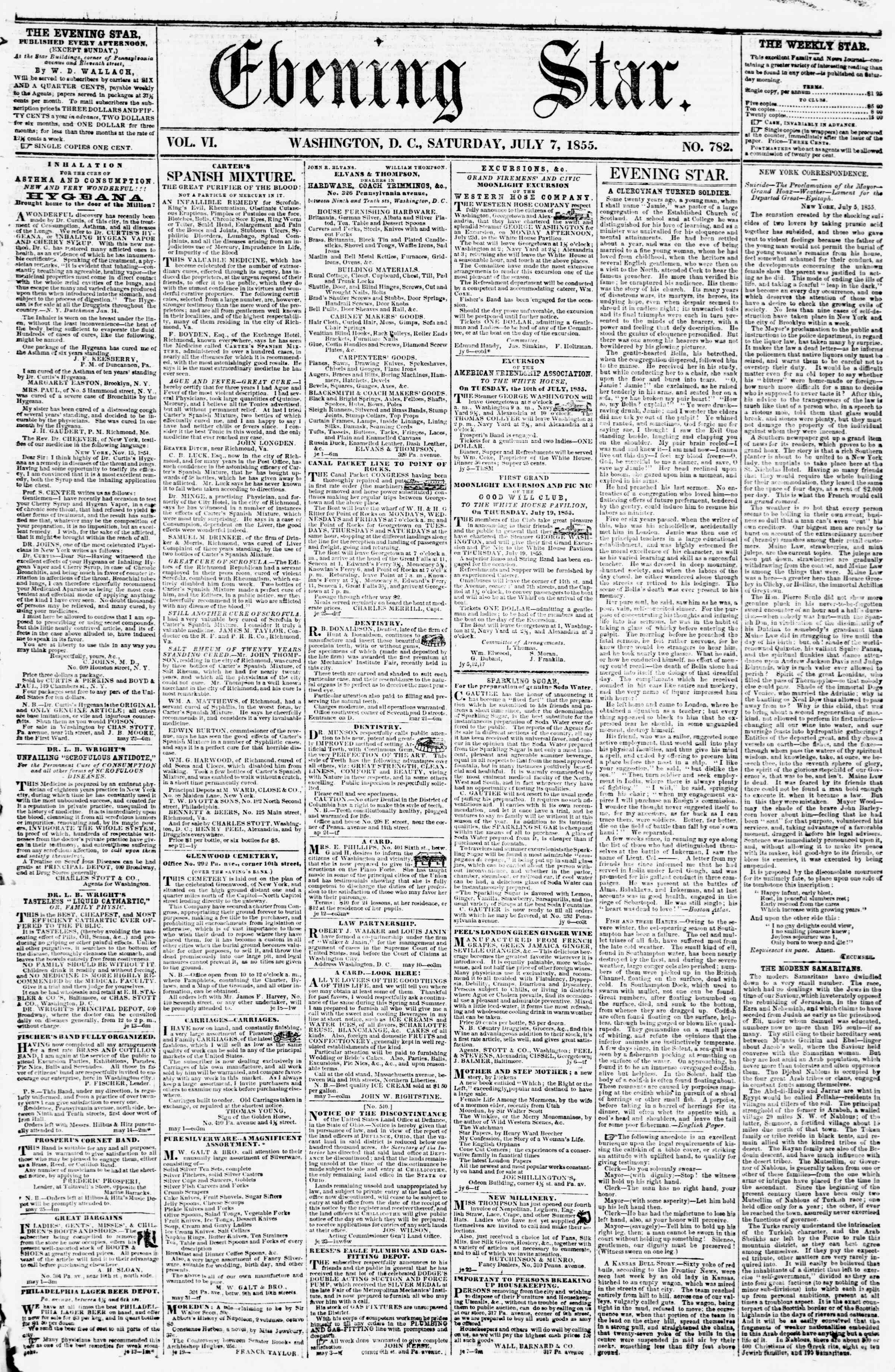 Newspaper of Evening Star dated July 7, 1855 Page 1
