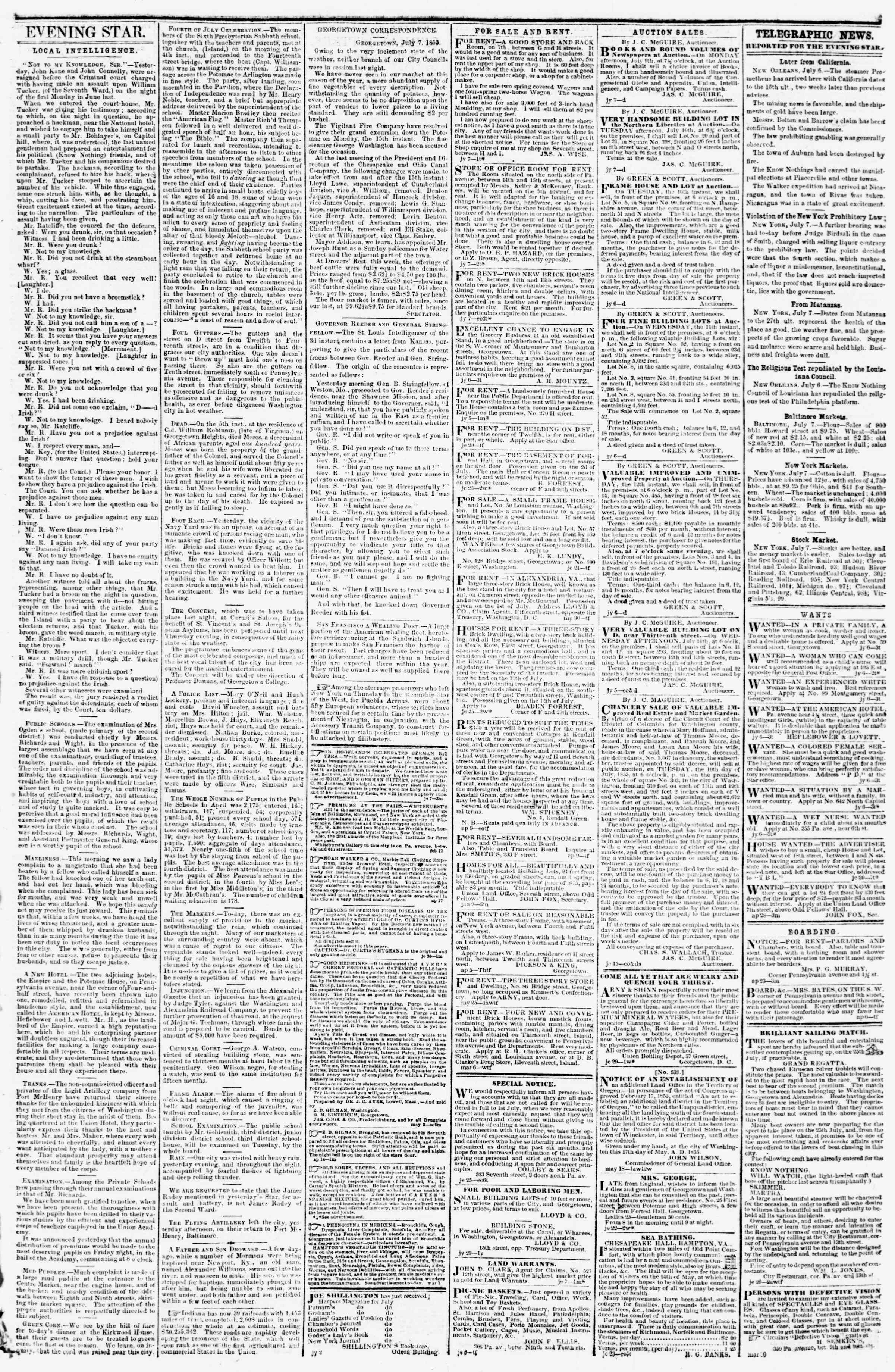 Newspaper of Evening Star dated July 7, 1855 Page 3
