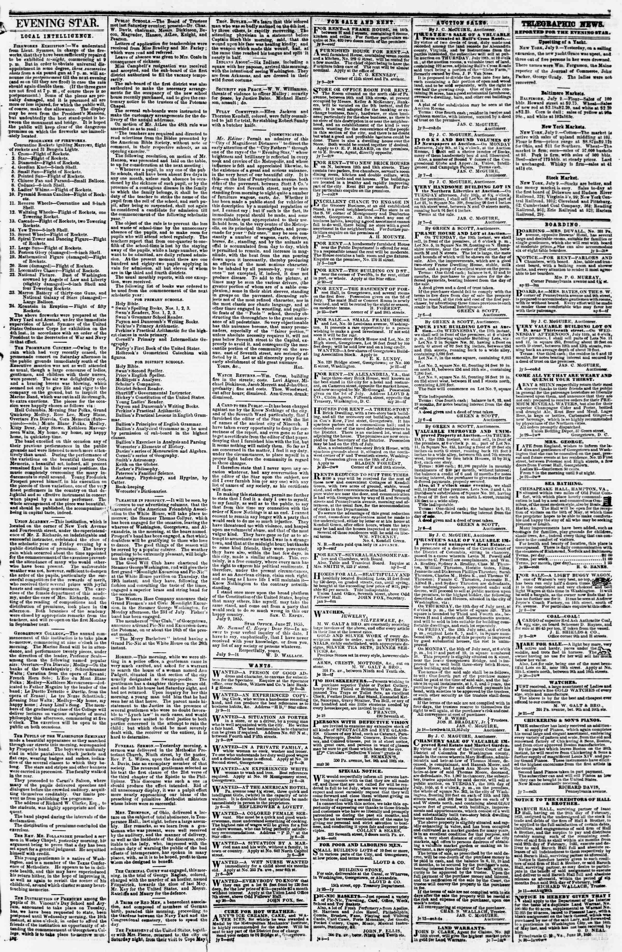 Newspaper of Evening Star dated July 9, 1855 Page 3