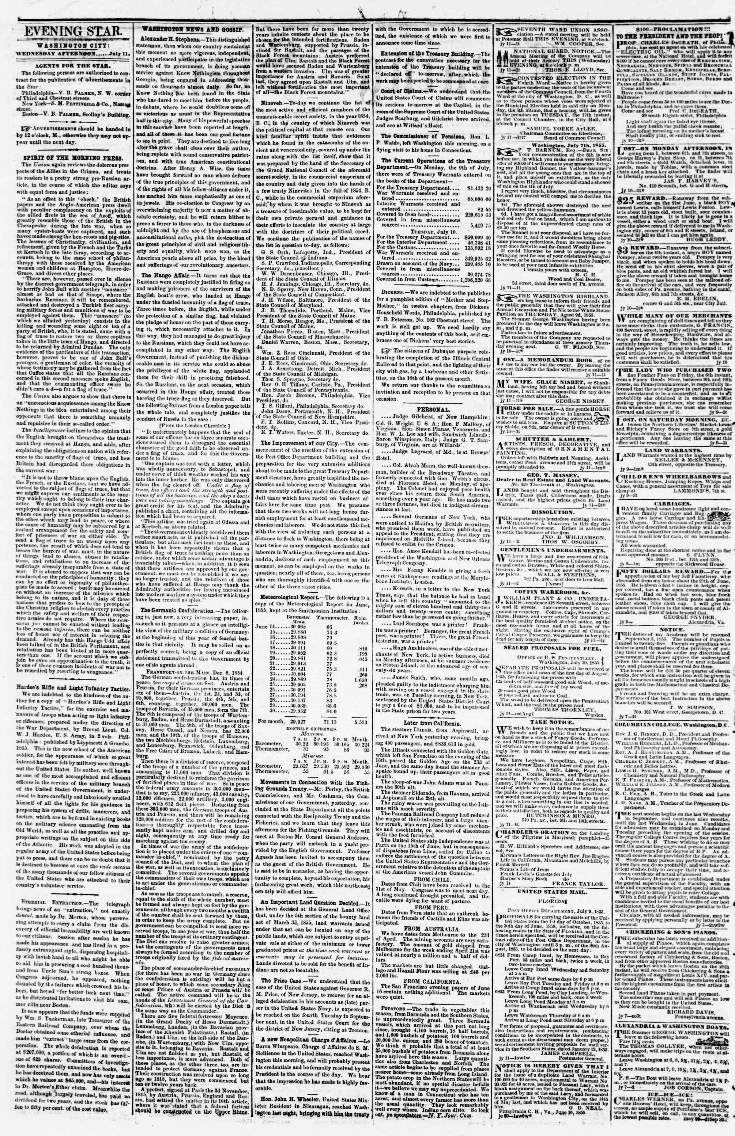 Newspaper of Evening Star dated July 11, 1855 Page 2